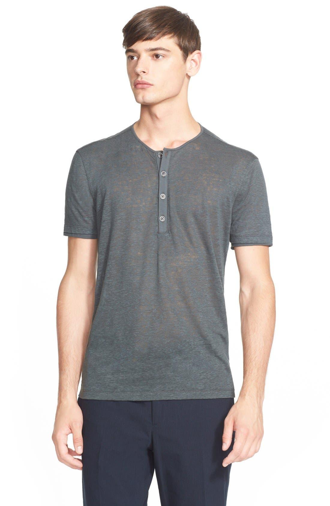 Collection Linen Henley Shirt, Main, color, 053