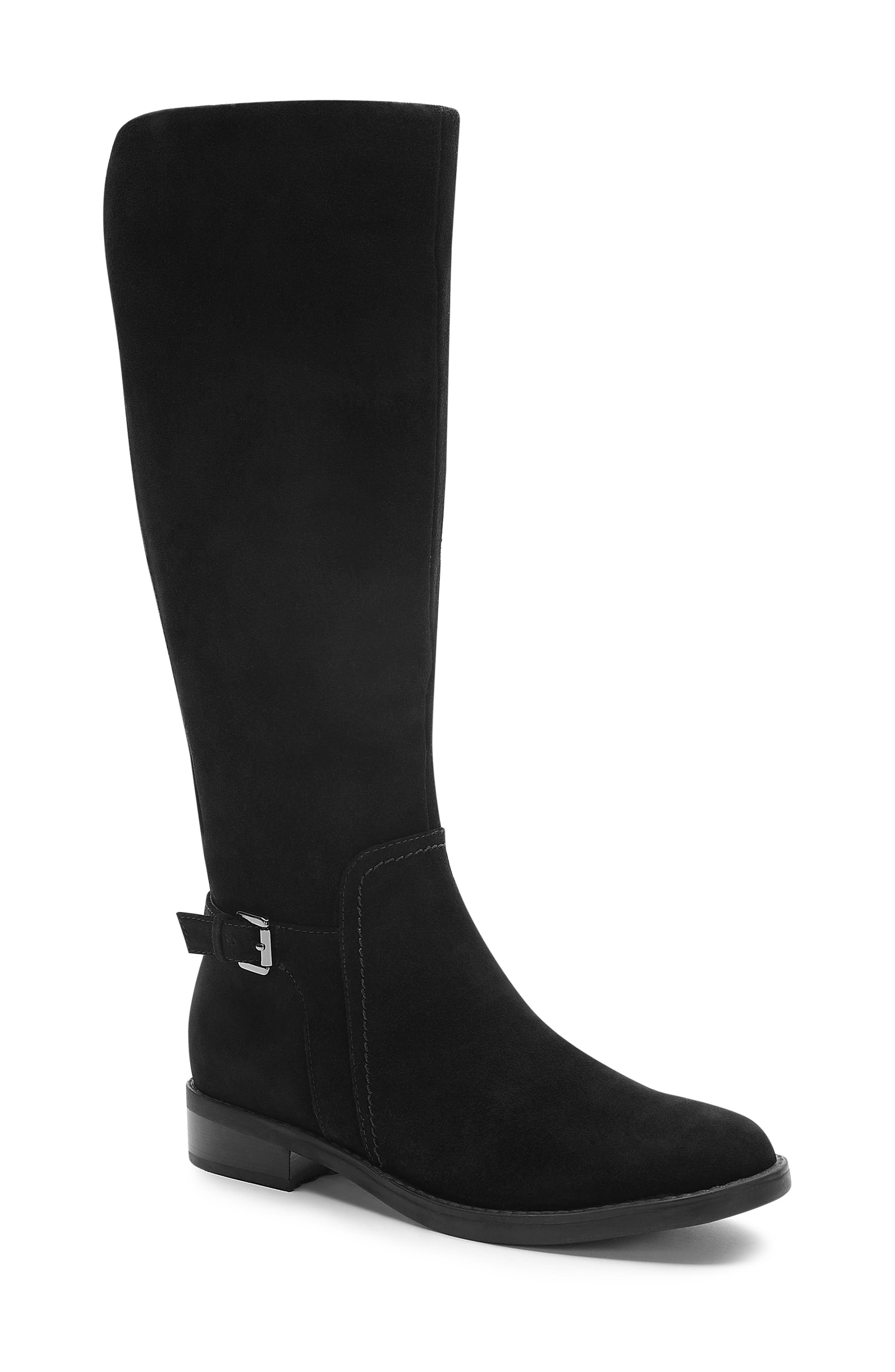 Evie Riding Waterproof Boot,                             Main thumbnail 1, color,                             BLACK SUEDE