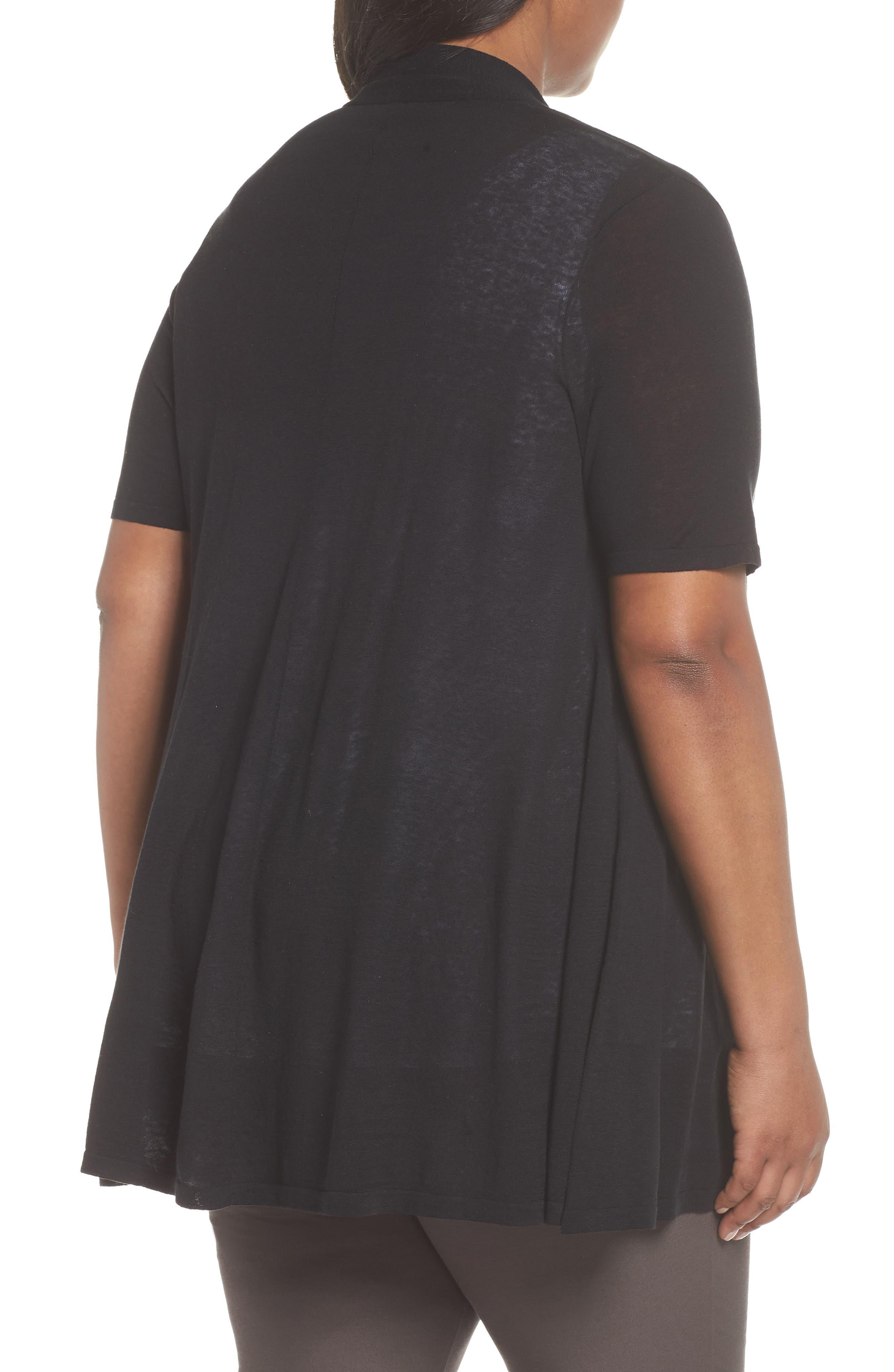 Silk & Organic Linen Long Cardigan,                             Alternate thumbnail 2, color,                             001