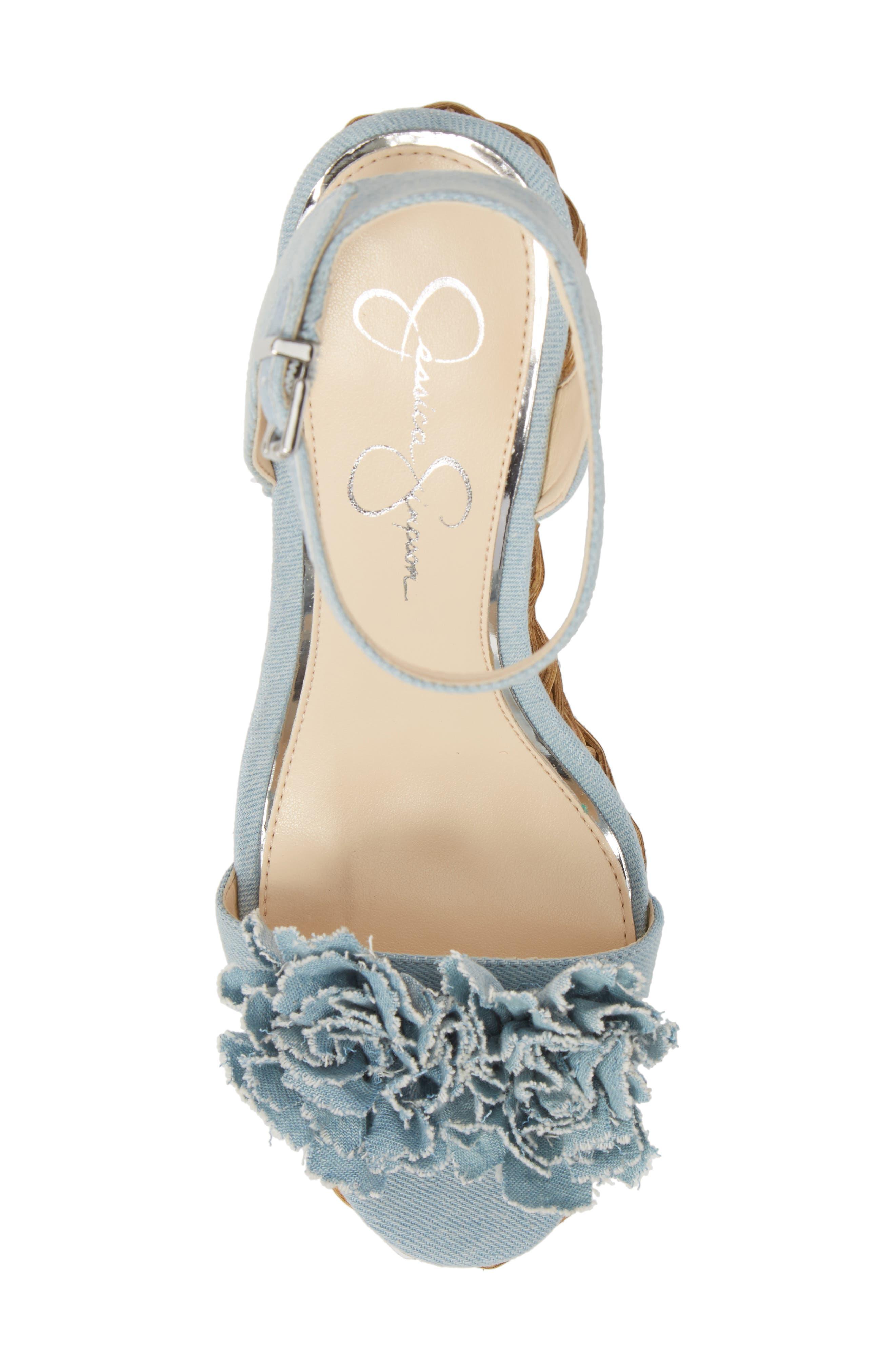Pressa Platform Wedge Sandal,                             Alternate thumbnail 5, color,                             VINTAGE BLUE