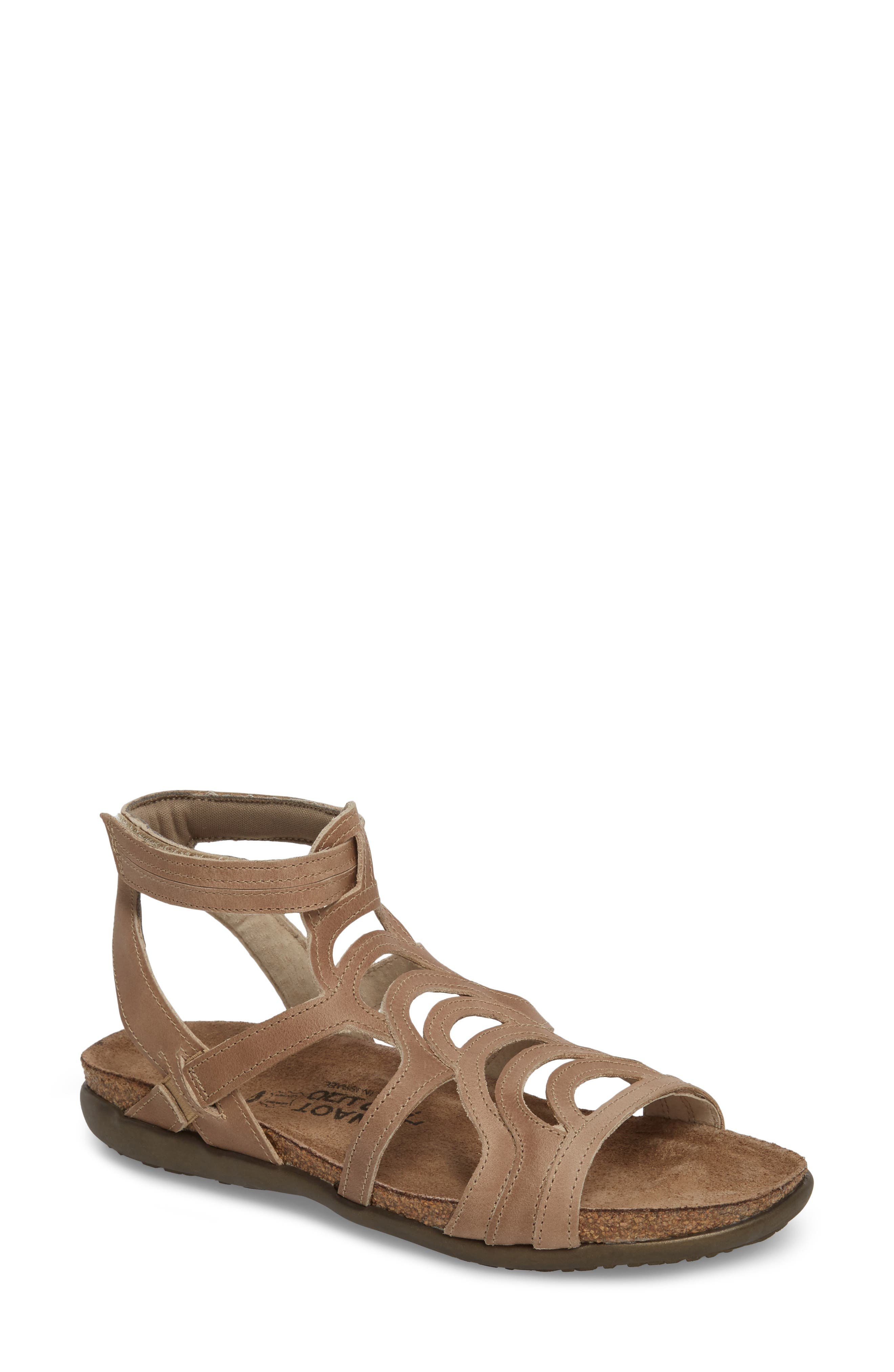'Sara' Gladiator Sandal,                             Main thumbnail 1, color,                             KHAKI BEIGE LEATHER