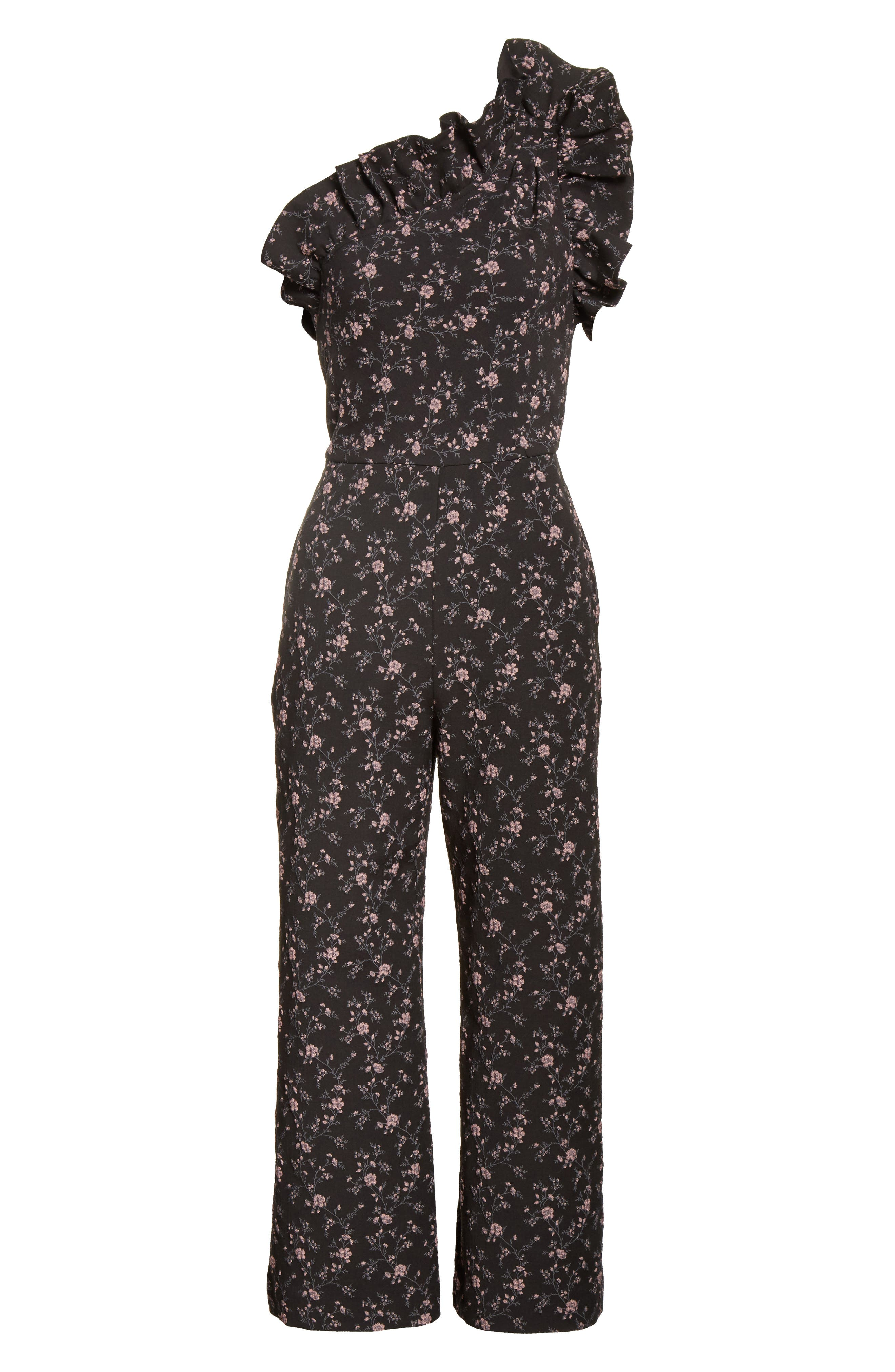 One-Shoulder Floral Jumpsuit,                             Alternate thumbnail 6, color,                             014