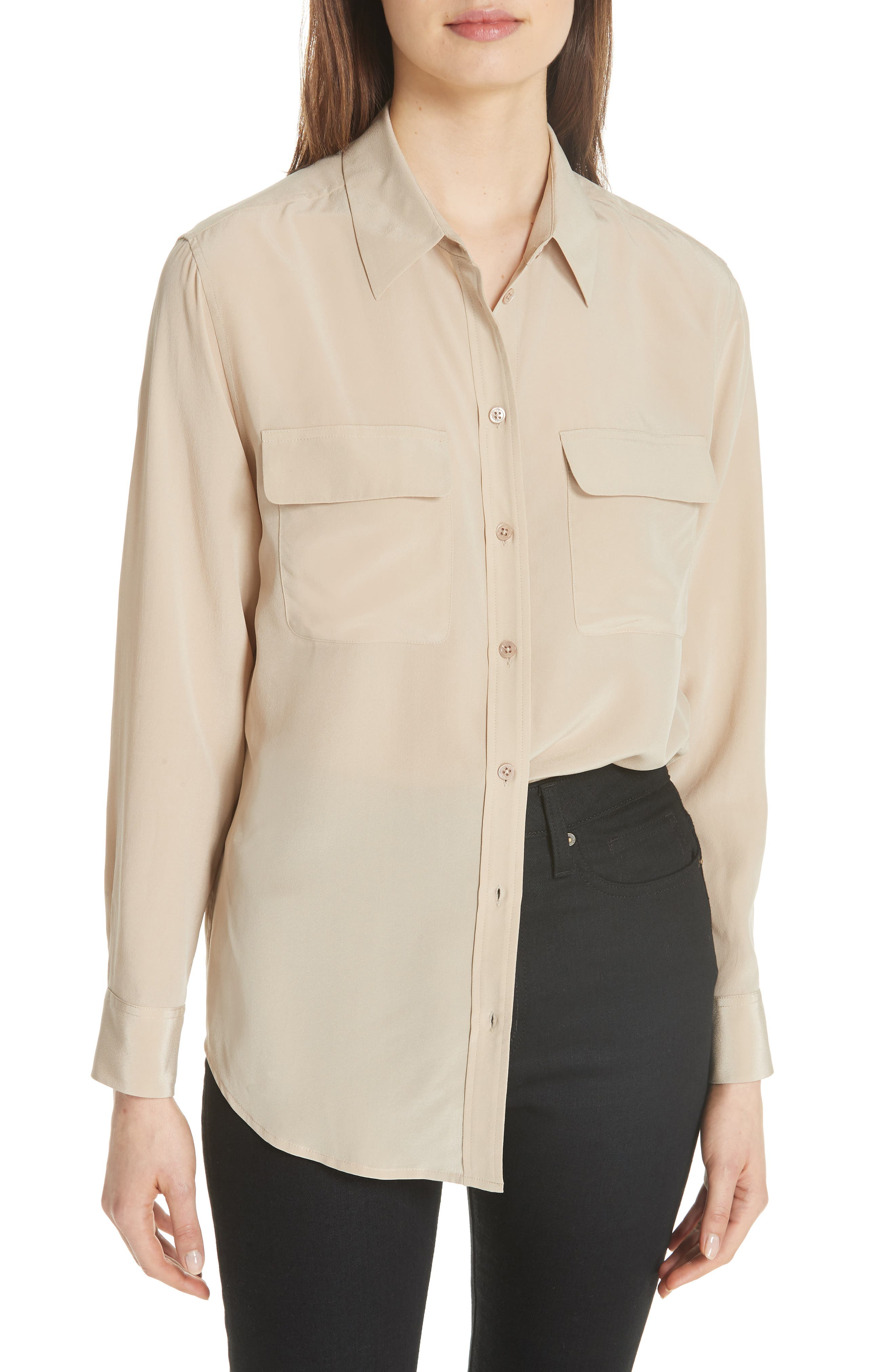 'Signature' Silk Shirt,                             Alternate thumbnail 2, color,                             261