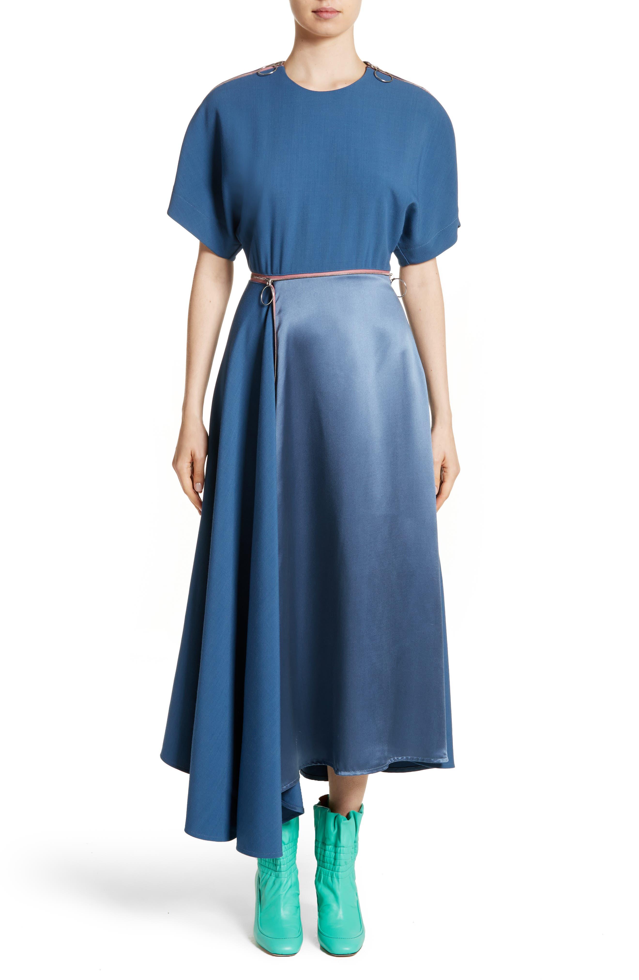 Gianna Asymmetrical Satin Dress,                             Alternate thumbnail 5, color,                             400