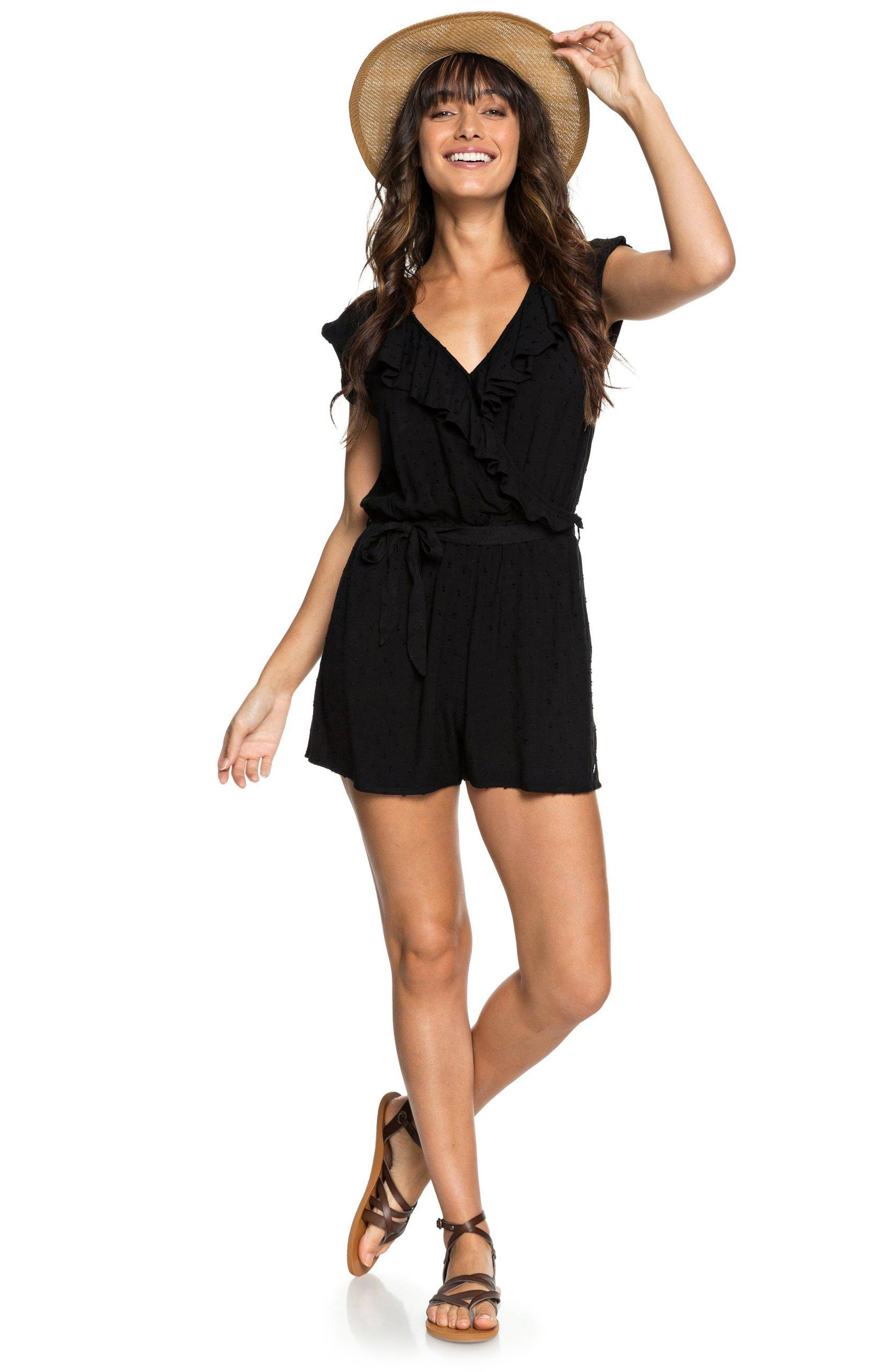Cool Your Heart Romper,                             Main thumbnail 1, color,                             TRUE BLACK