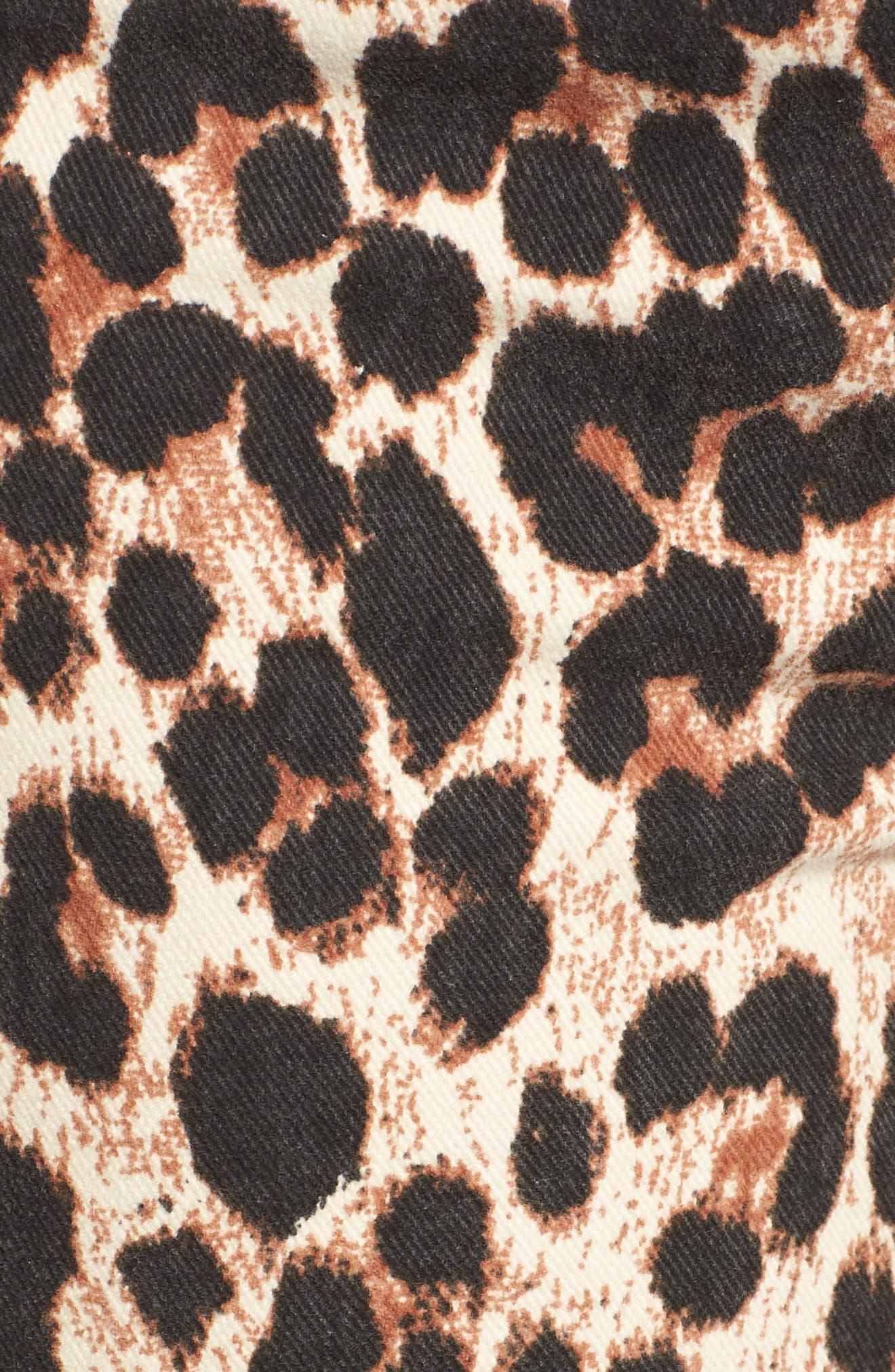 Hoxton High Waist Ankle Straight Leg Jeans,                             Alternate thumbnail 6, color,                             SAHARA LEOPARD