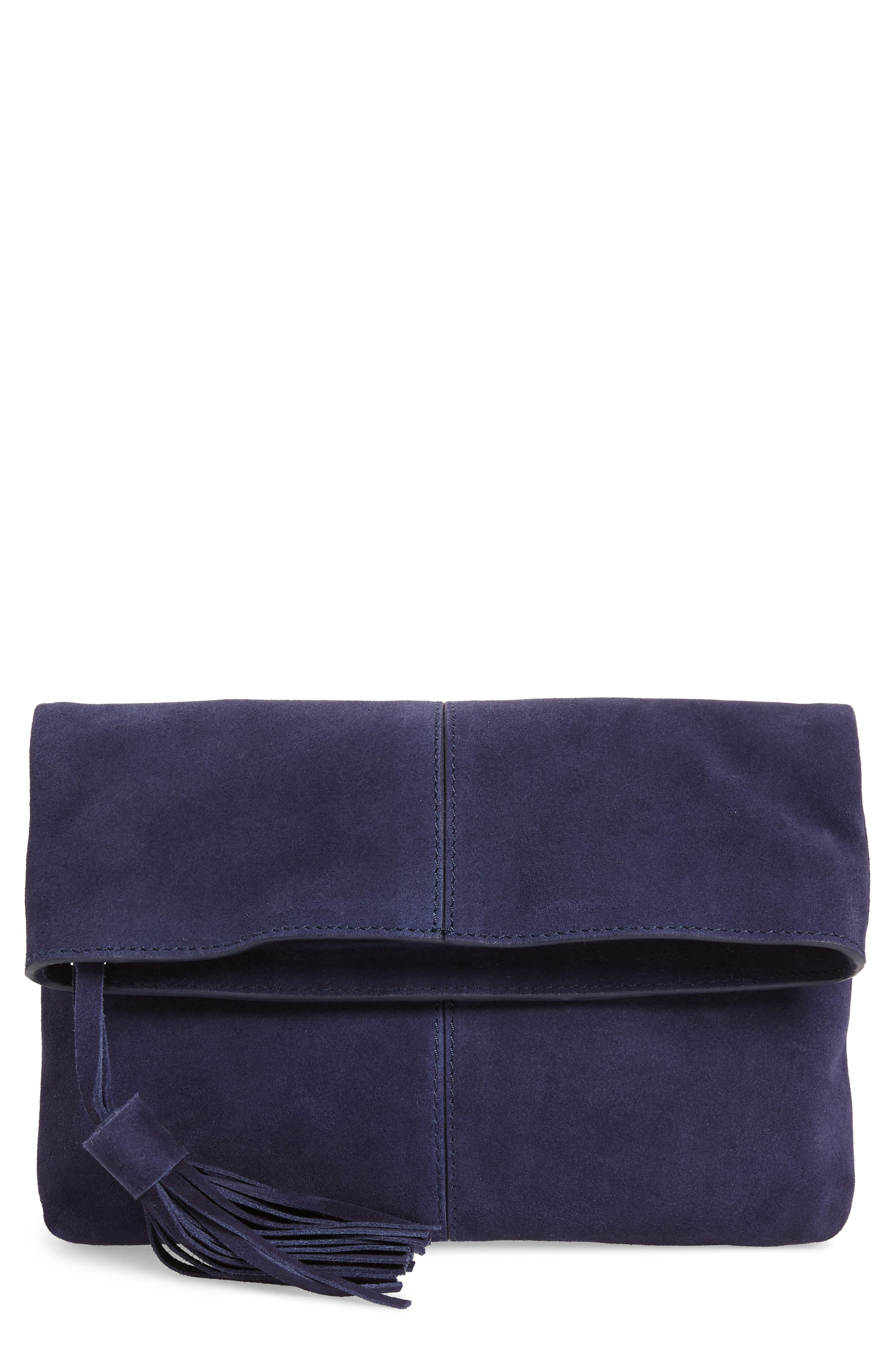 Suede Clutch,                             Main thumbnail 1, color,                             NAVY