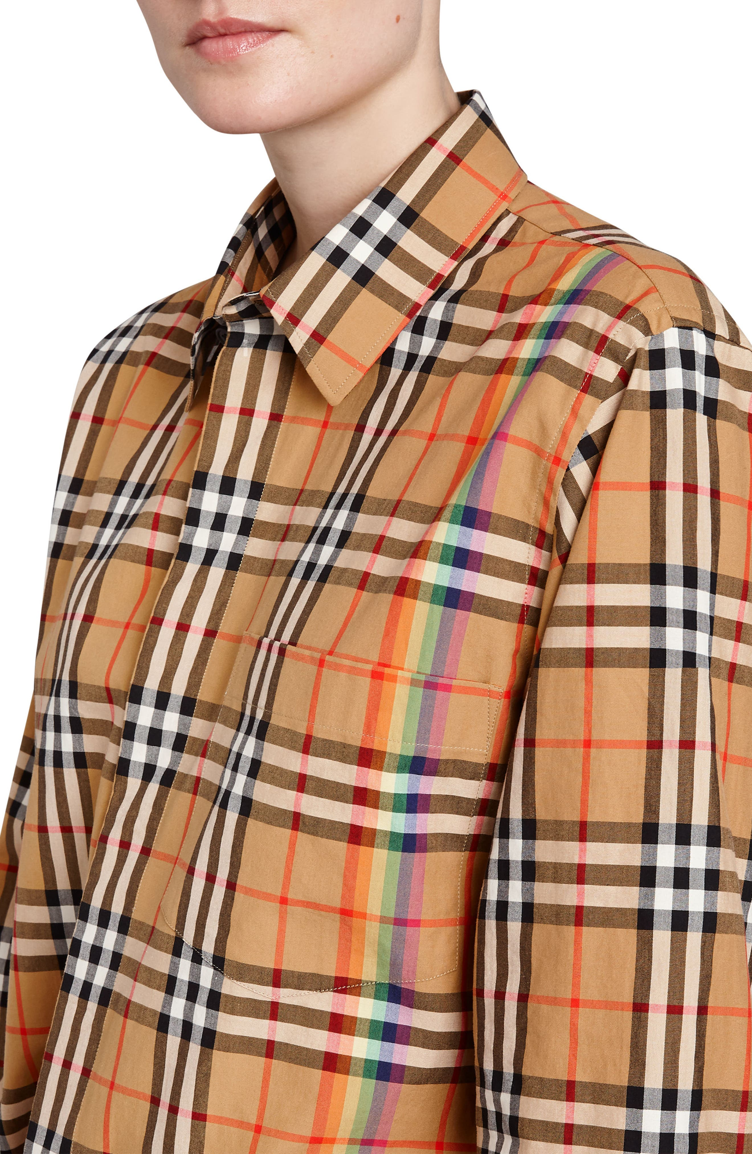 BURBERRY,                             Rainbow Check Shirt,                             Alternate thumbnail 4, color,                             254
