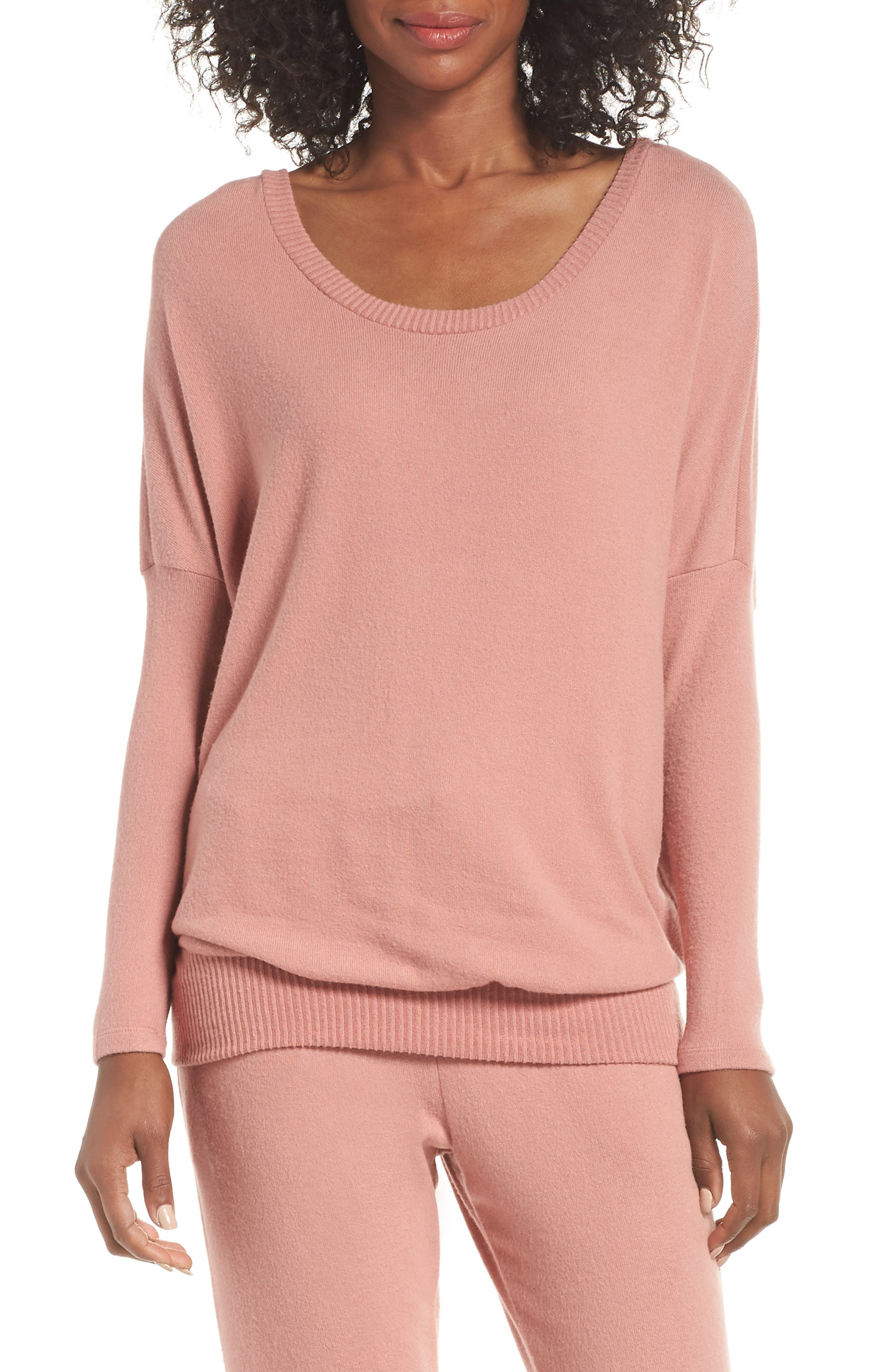 'Cozy Time' Slouchy Long Sleeve Tee,                         Main,                         color, OLD ROSE