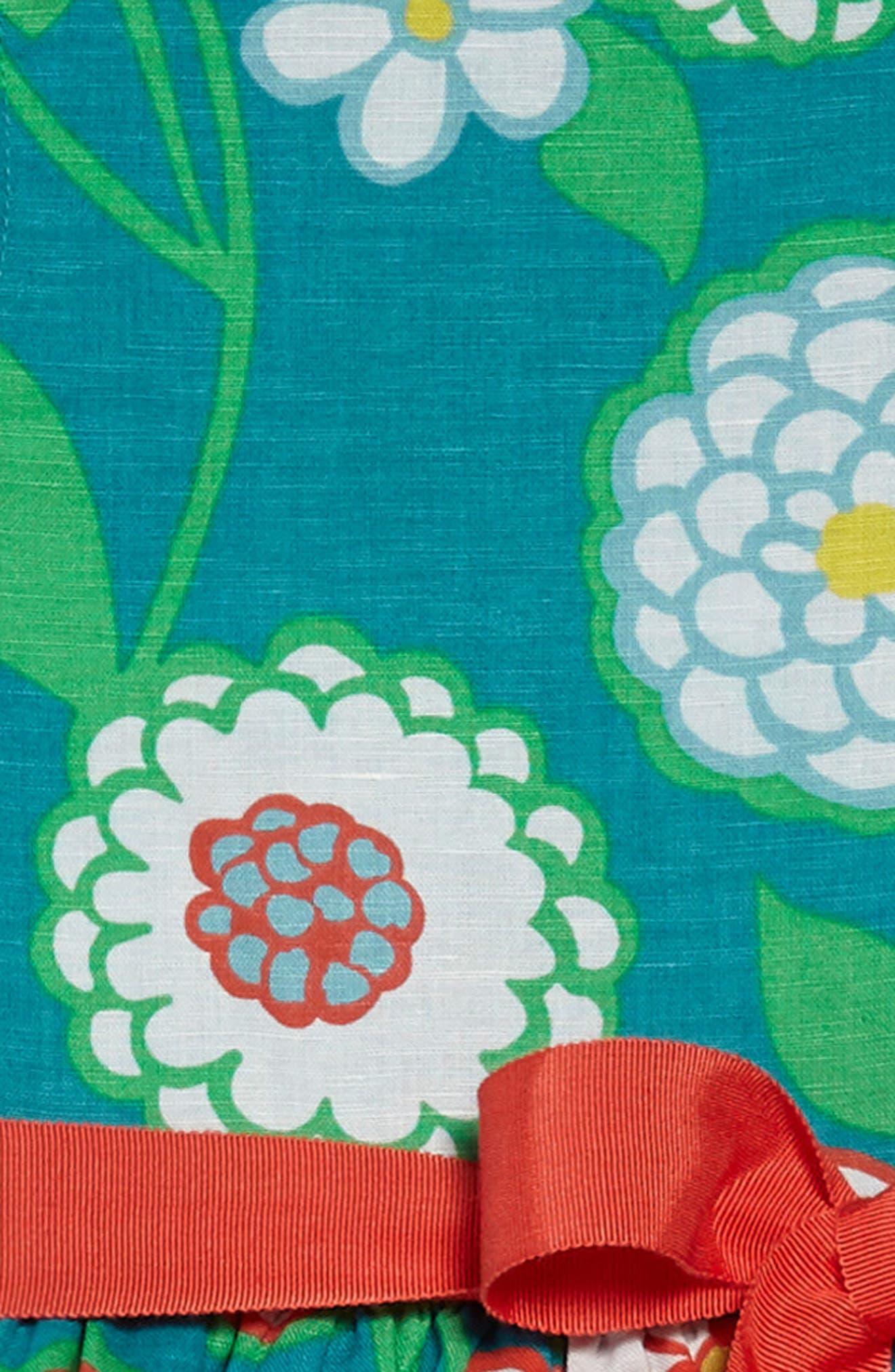 Vintage Linen & Cotton Dress,                             Alternate thumbnail 3, color,                             ULTRAMARINE GREEN DAISY GRN