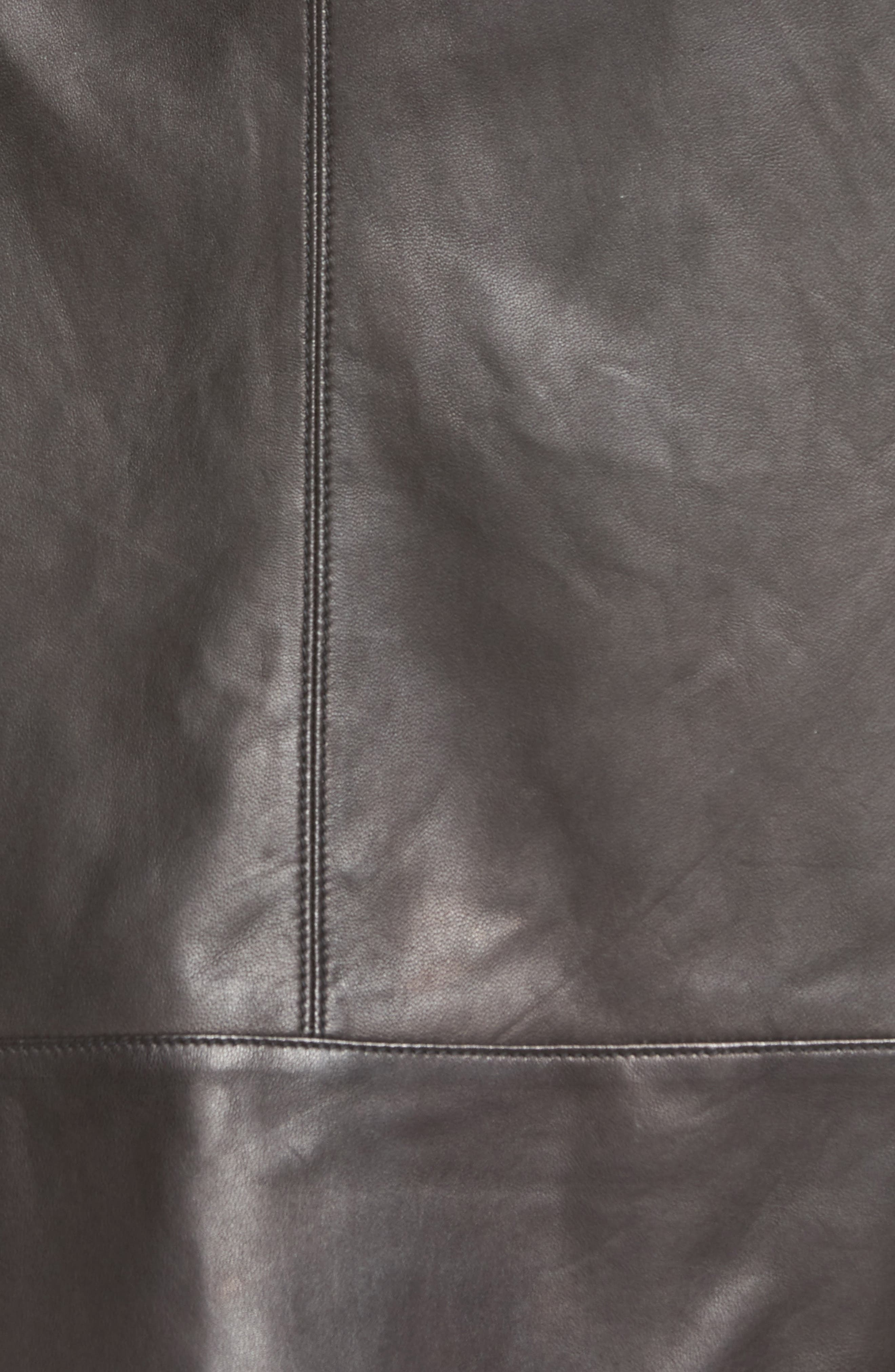 A-Line Leather Skirt,                             Alternate thumbnail 5, color,                             001
