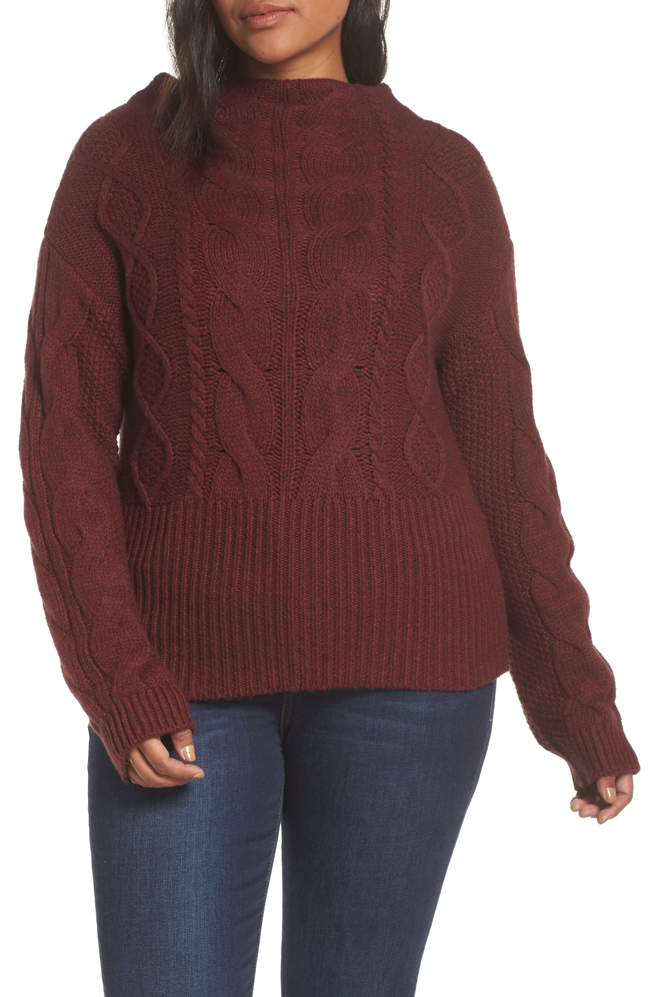 Cotton Blend Cable Knit Sweater,                             Alternate thumbnail 2, color,                             MANOR RED