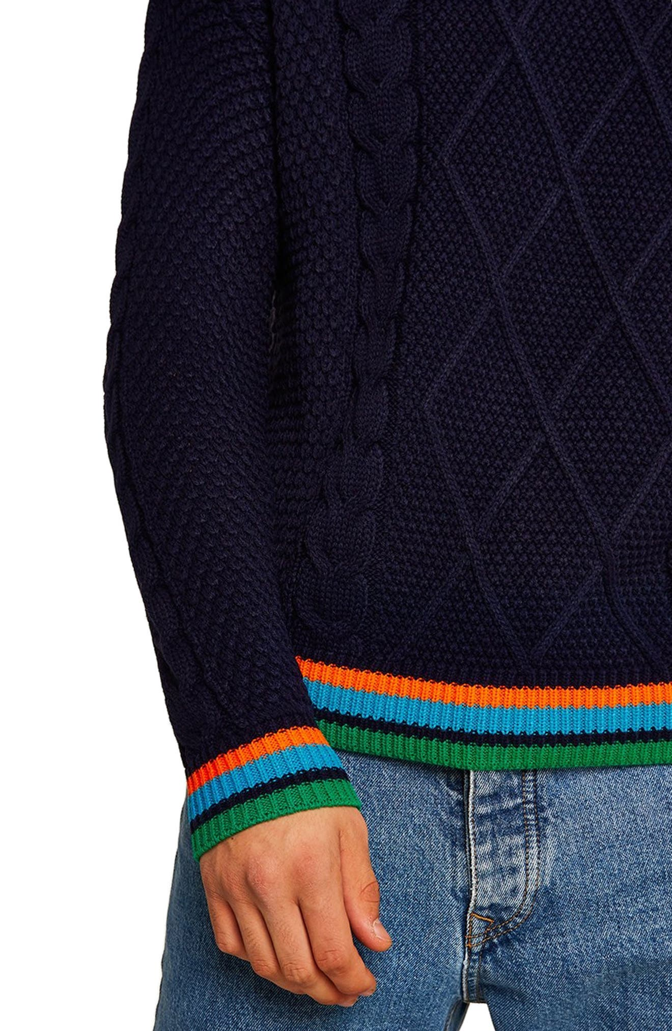 Classic Fit Cable Knit Sweater,                             Alternate thumbnail 3, color,                             411
