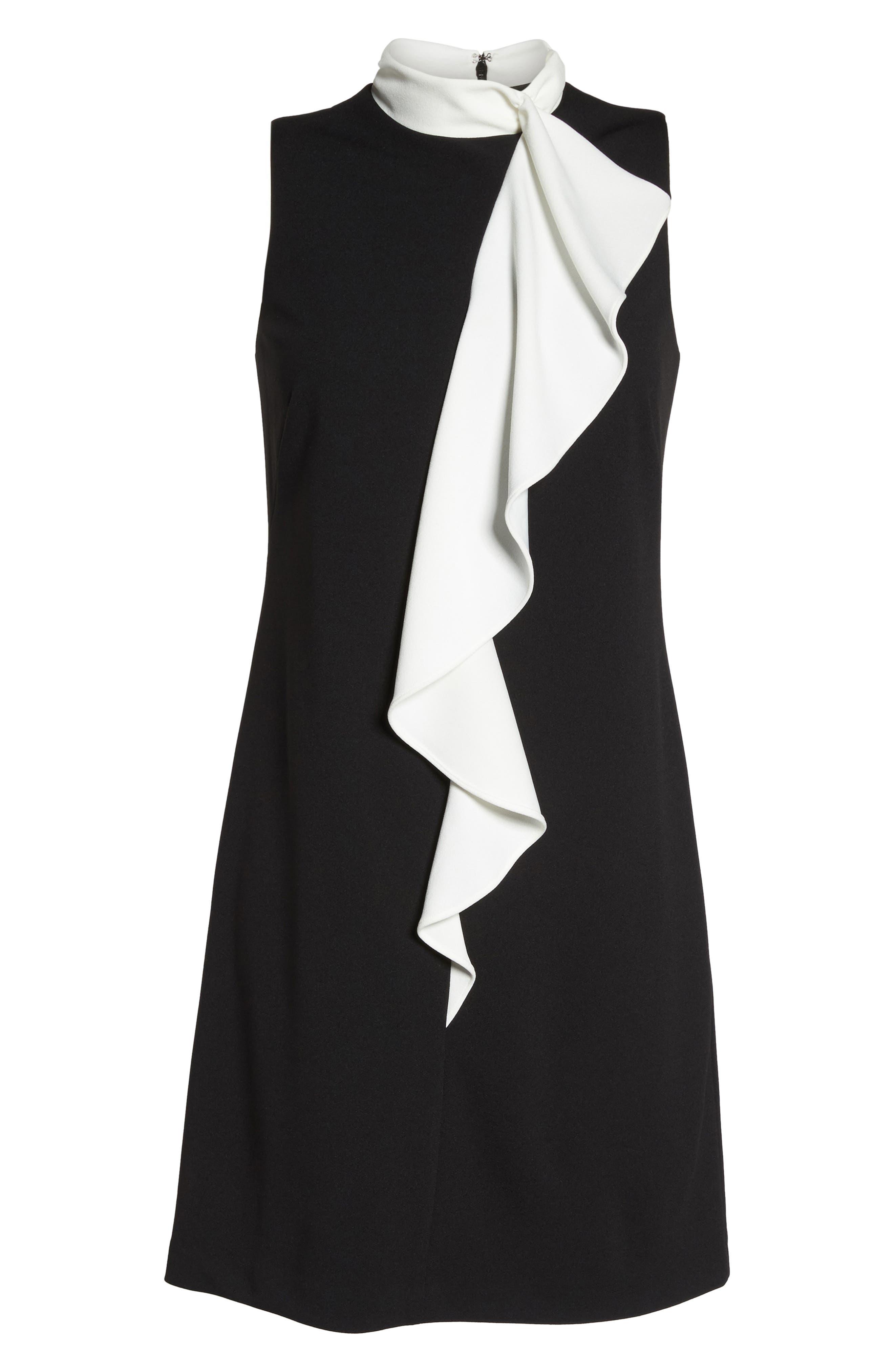 Ruffle Collar Shift Dress,                             Alternate thumbnail 6, color,