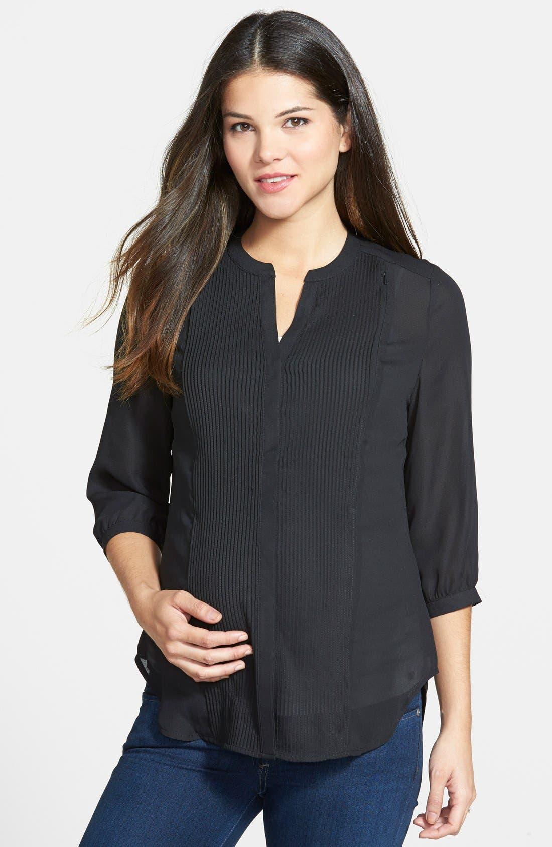 'Audrey' Maternity/Nursing Tuxedo Blouse,                         Main,                         color, BLACK