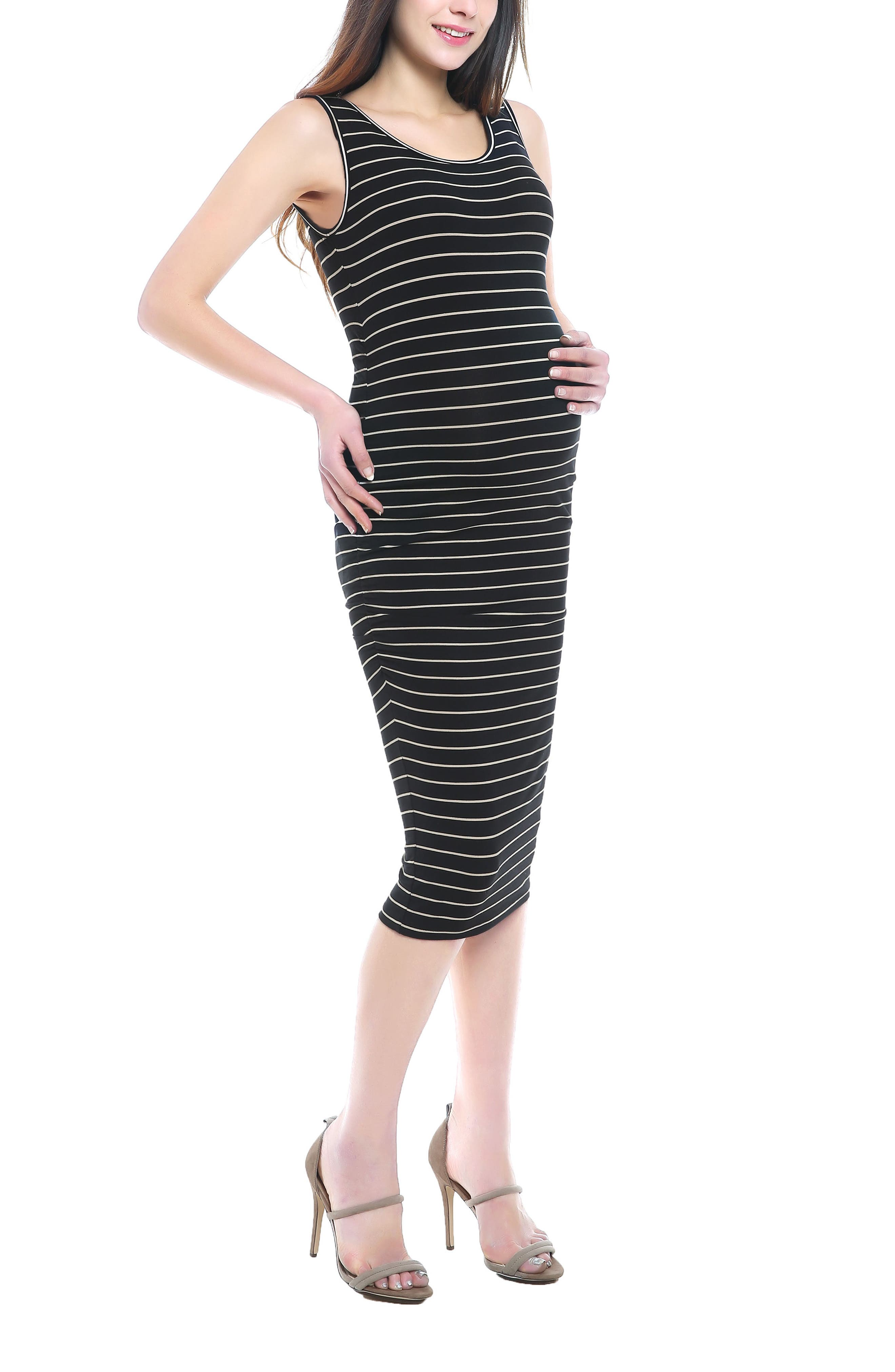 Tobi Stripe Maternity Dress,                             Alternate thumbnail 4, color,                             BLACK/ BEIGE