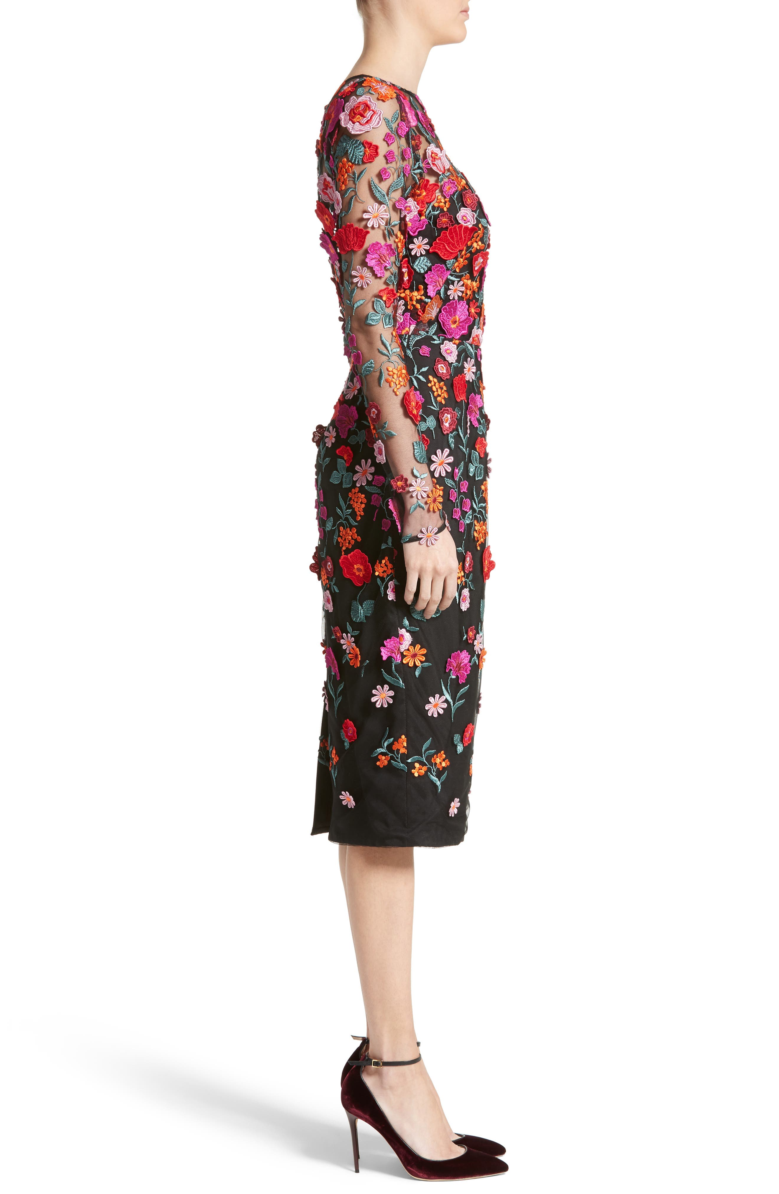 Floral Embroidered Pencil Dress,                             Alternate thumbnail 3, color,                             001