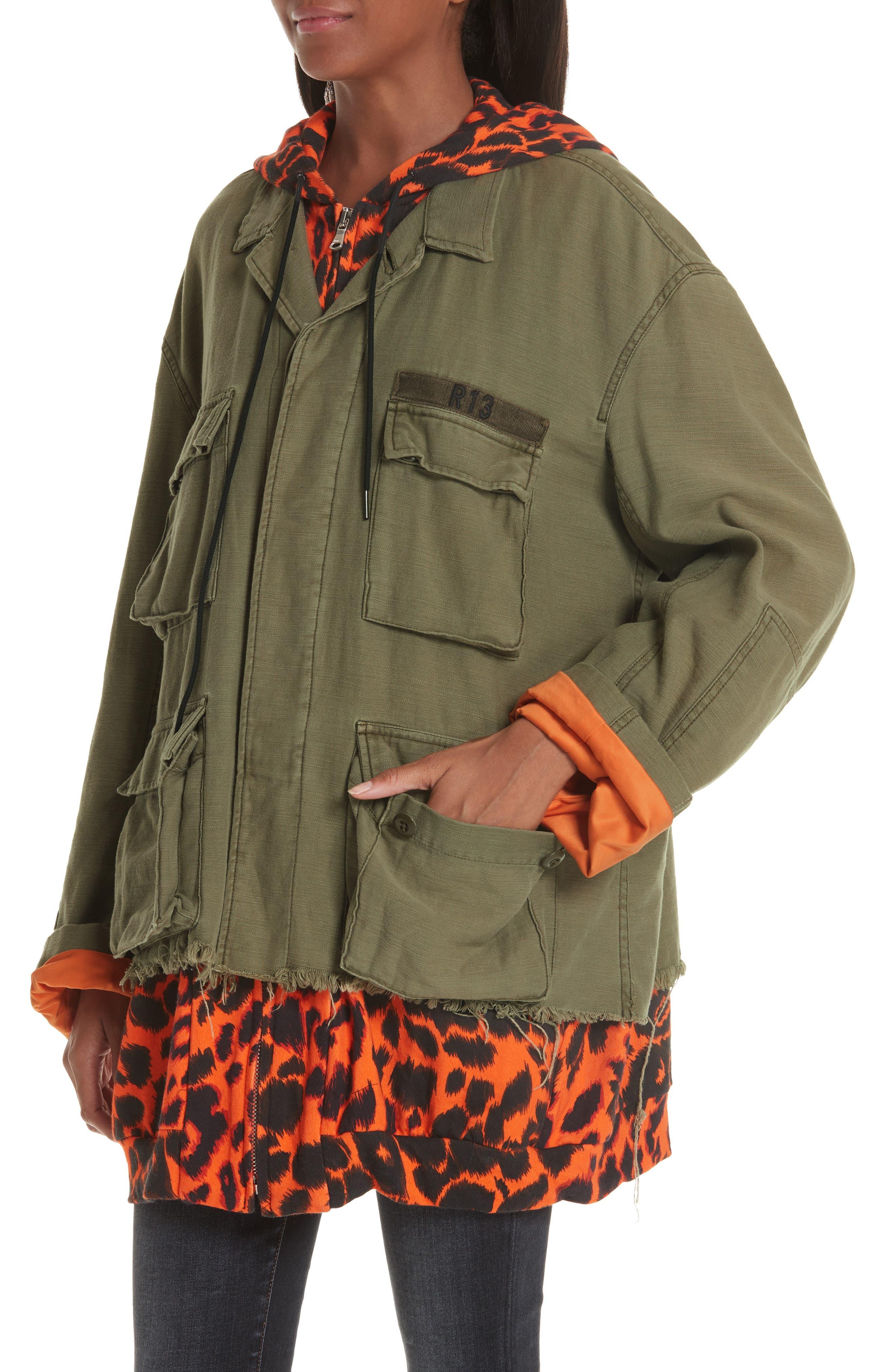 Abu Jacket with Long Leopard Print Hoodie,                             Alternate thumbnail 4, color,                             OLIVE/ ORANGE