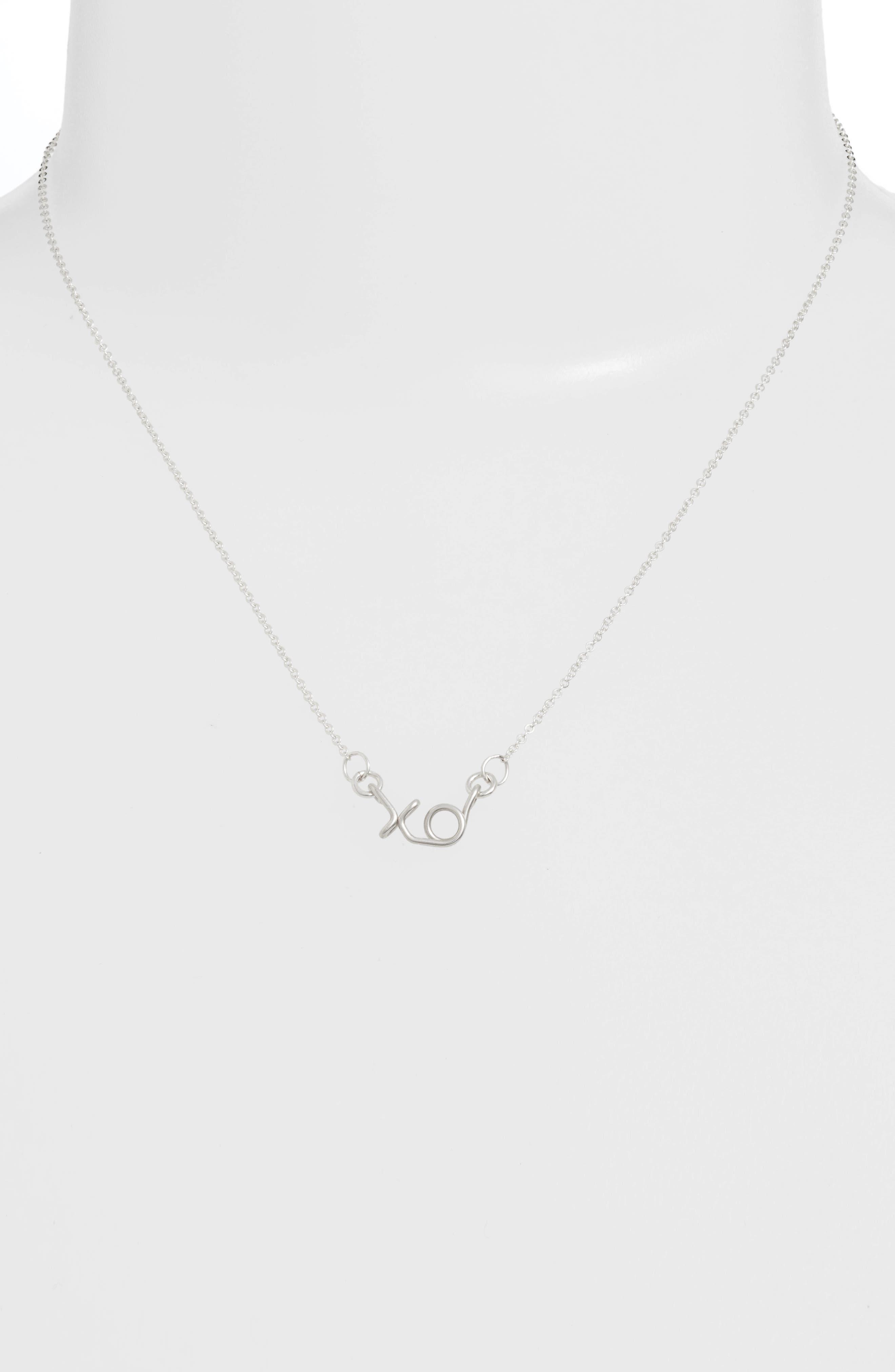 Mini XO Pendant Necklace,                             Alternate thumbnail 2, color,                             040