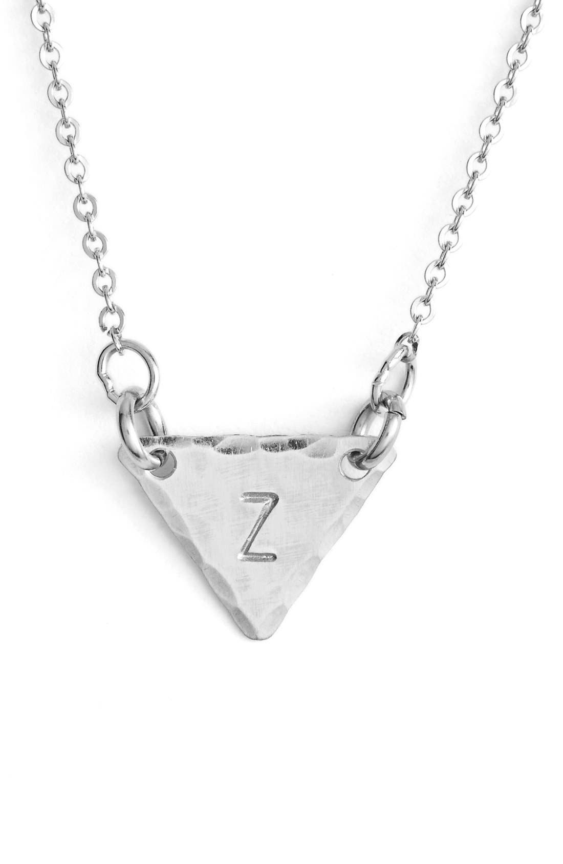 Sterling Silver Initial Mini Triangle Necklace,                             Main thumbnail 26, color,