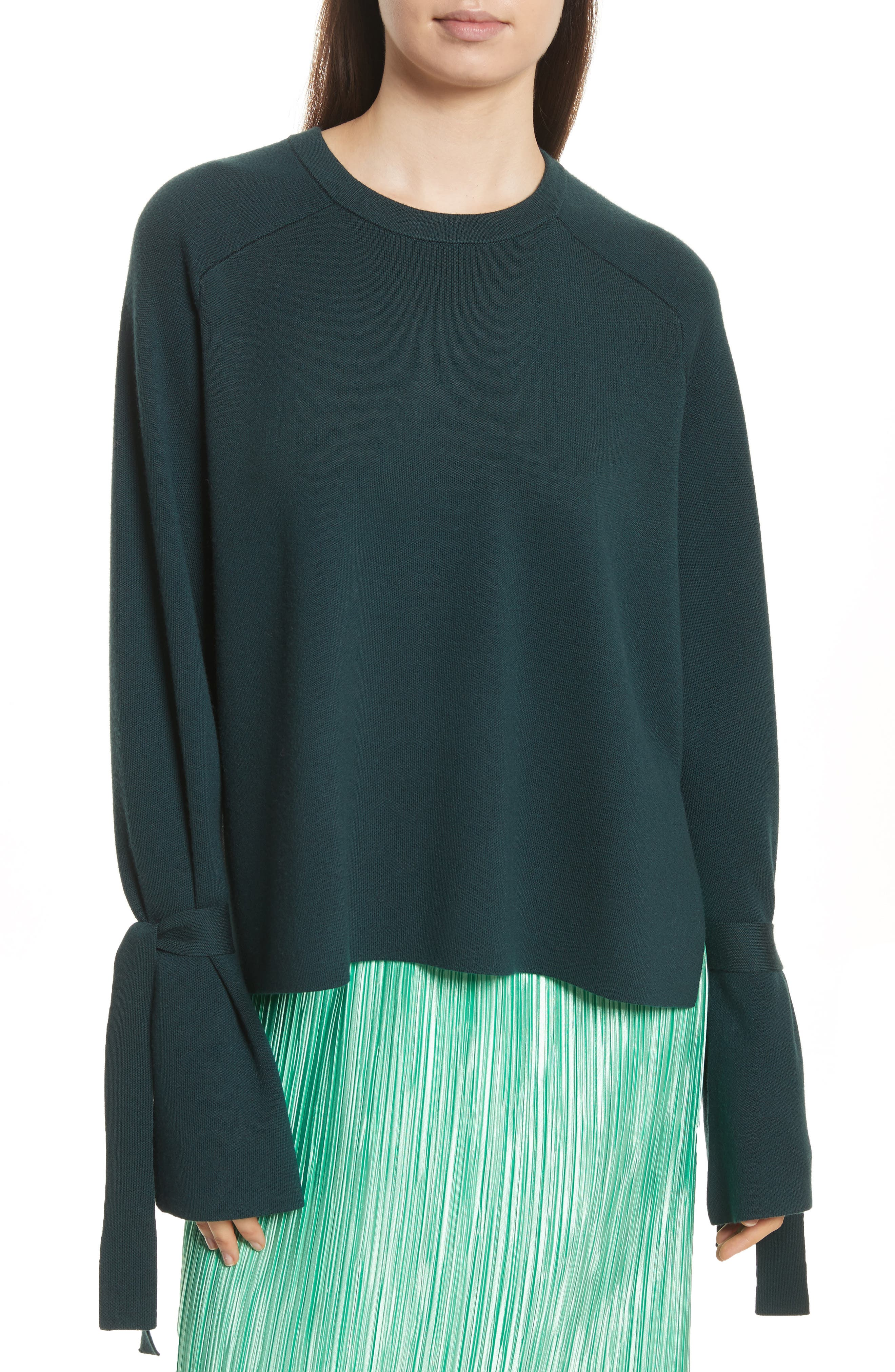Merino Wool & Silk Bell Sleeve Pullover,                         Main,                         color,