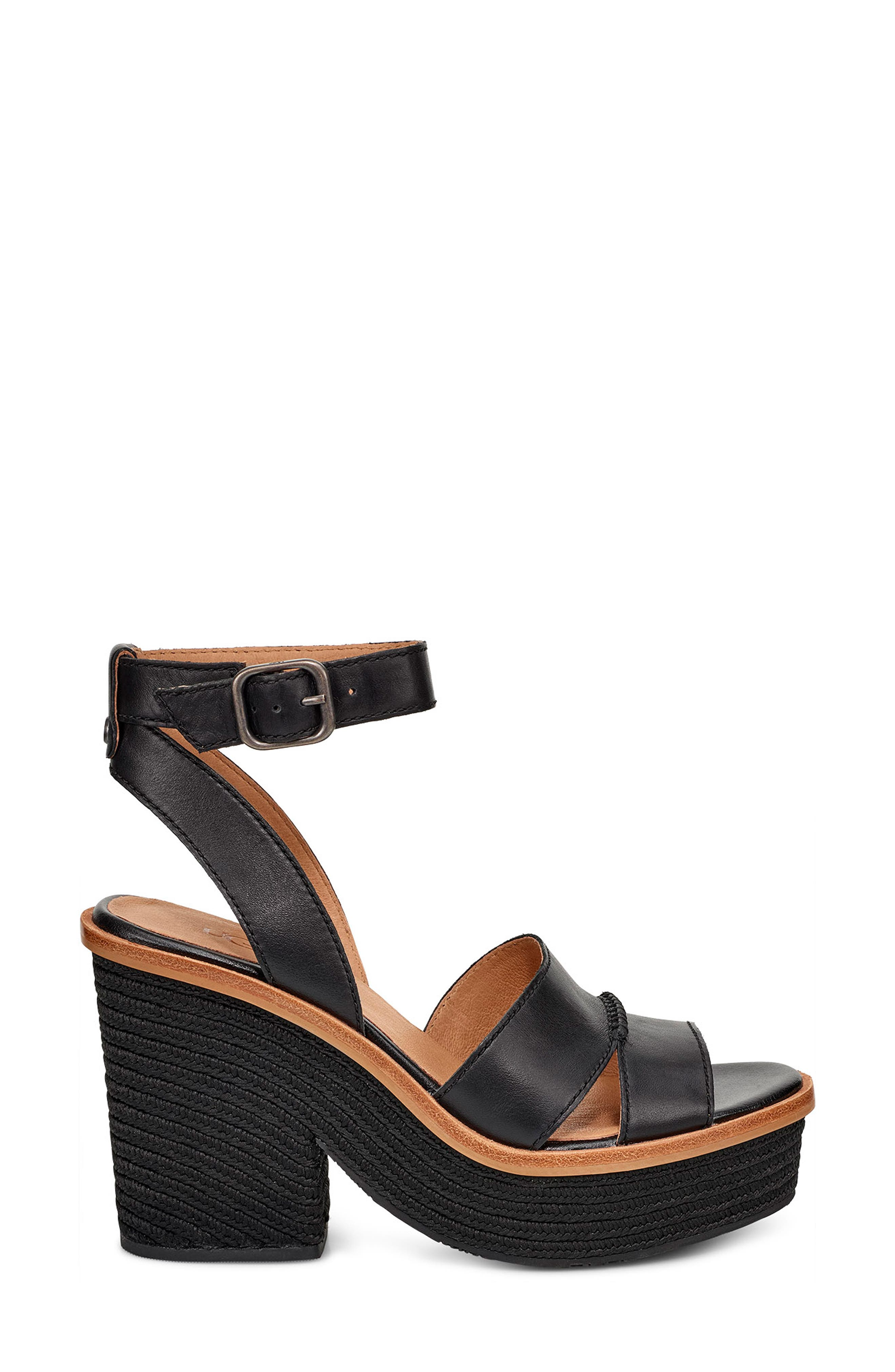 Carine Platform Sandal,                             Alternate thumbnail 3, color,                             BLACK LEATHER