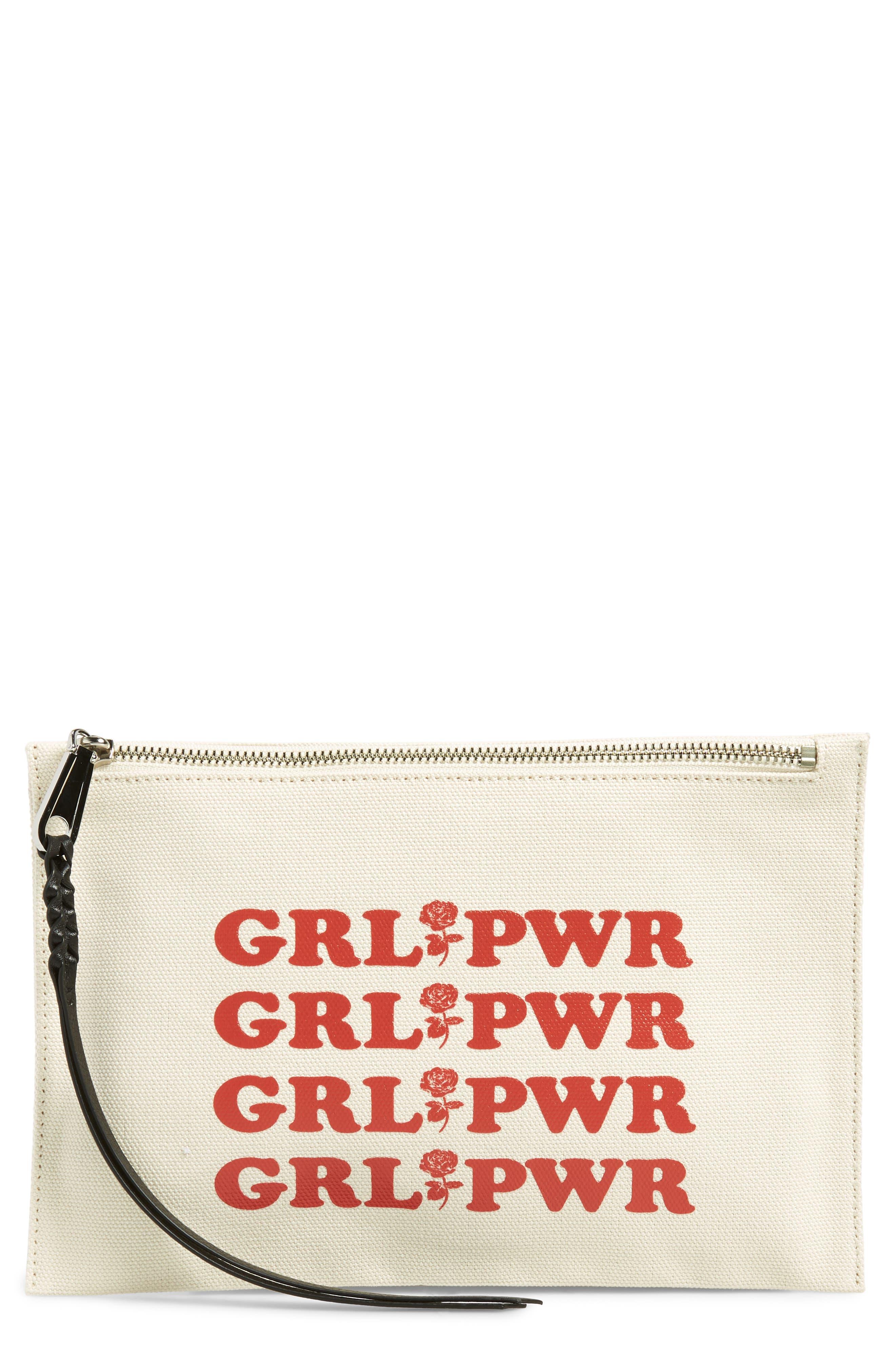Girl Power Medium Zip Pouch,                             Main thumbnail 1, color,                             CREAM