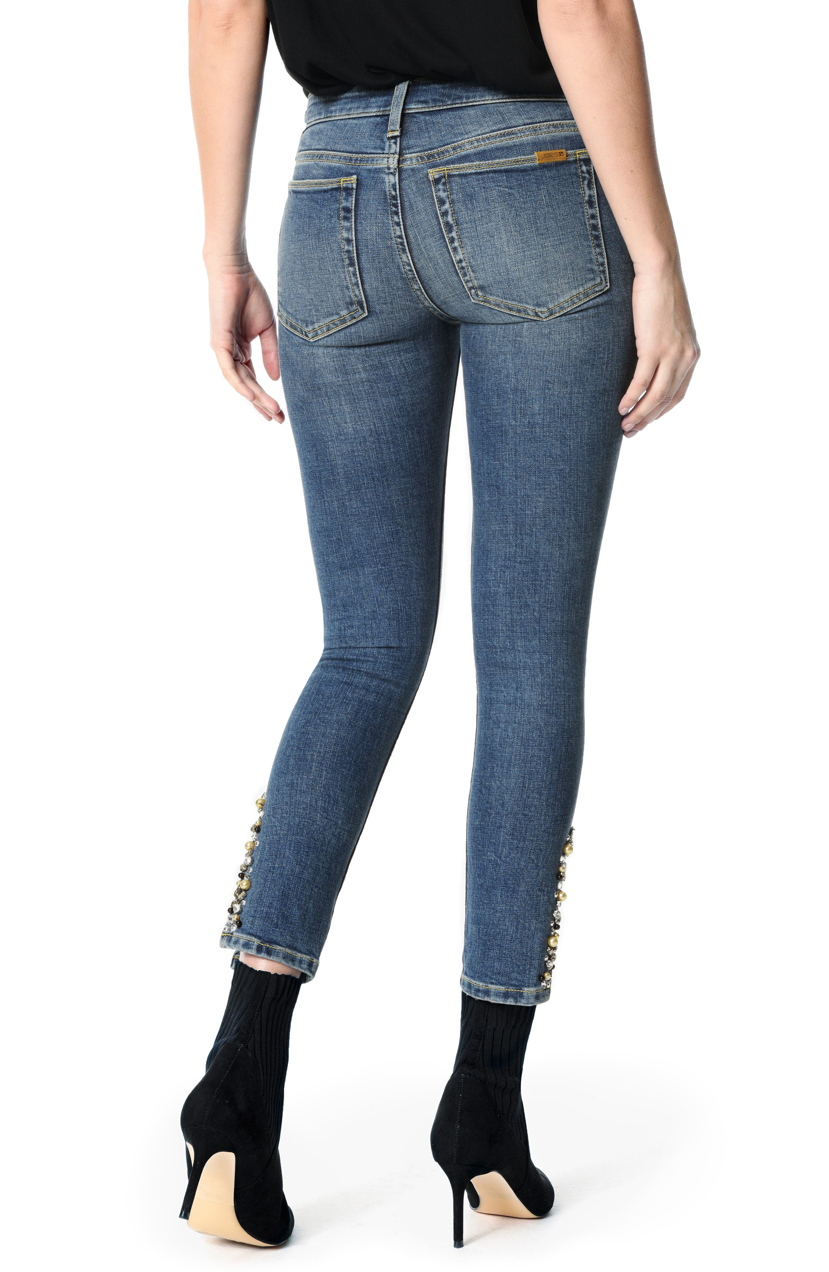 Icon Embellished Slit Ankle Skinny Jeans,                             Alternate thumbnail 2, color,                             CLEO