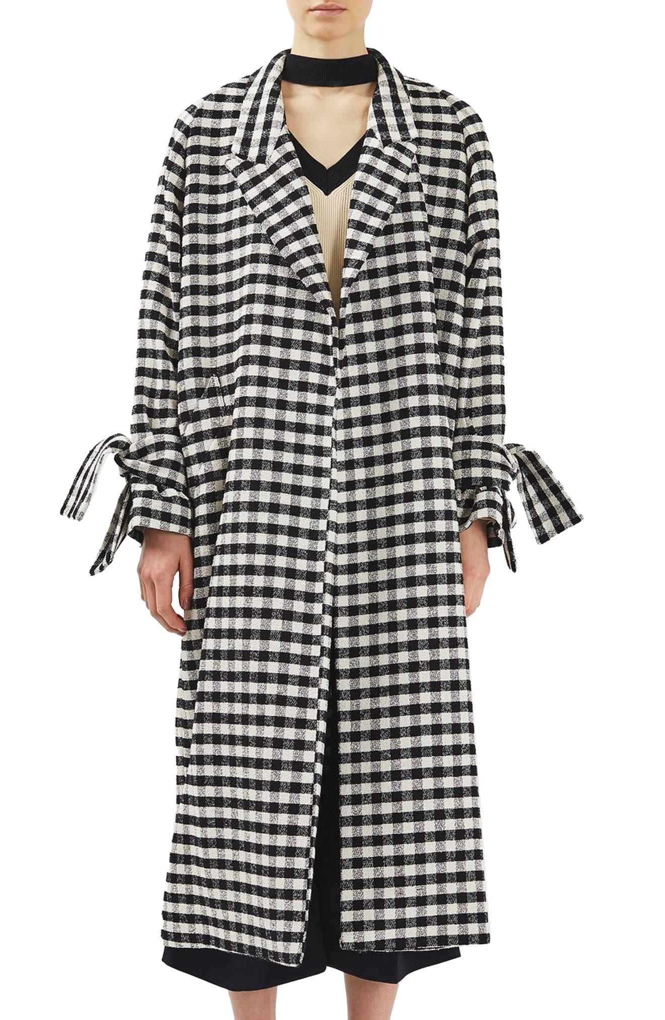 Gingham Duster Coat, Main, color, 001