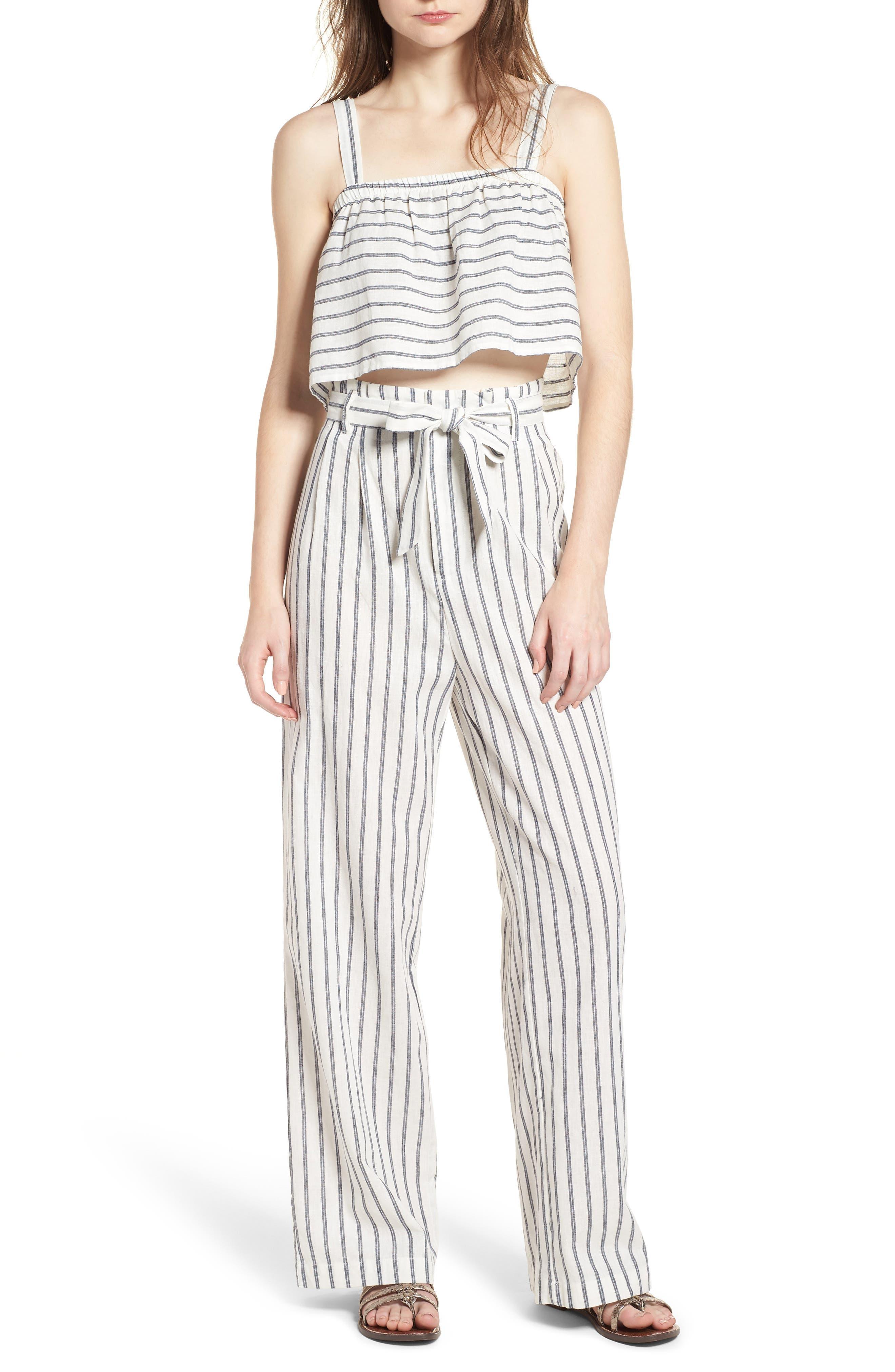 Stripe Linen & Cotton Crop Tank,                             Alternate thumbnail 7, color,                             904