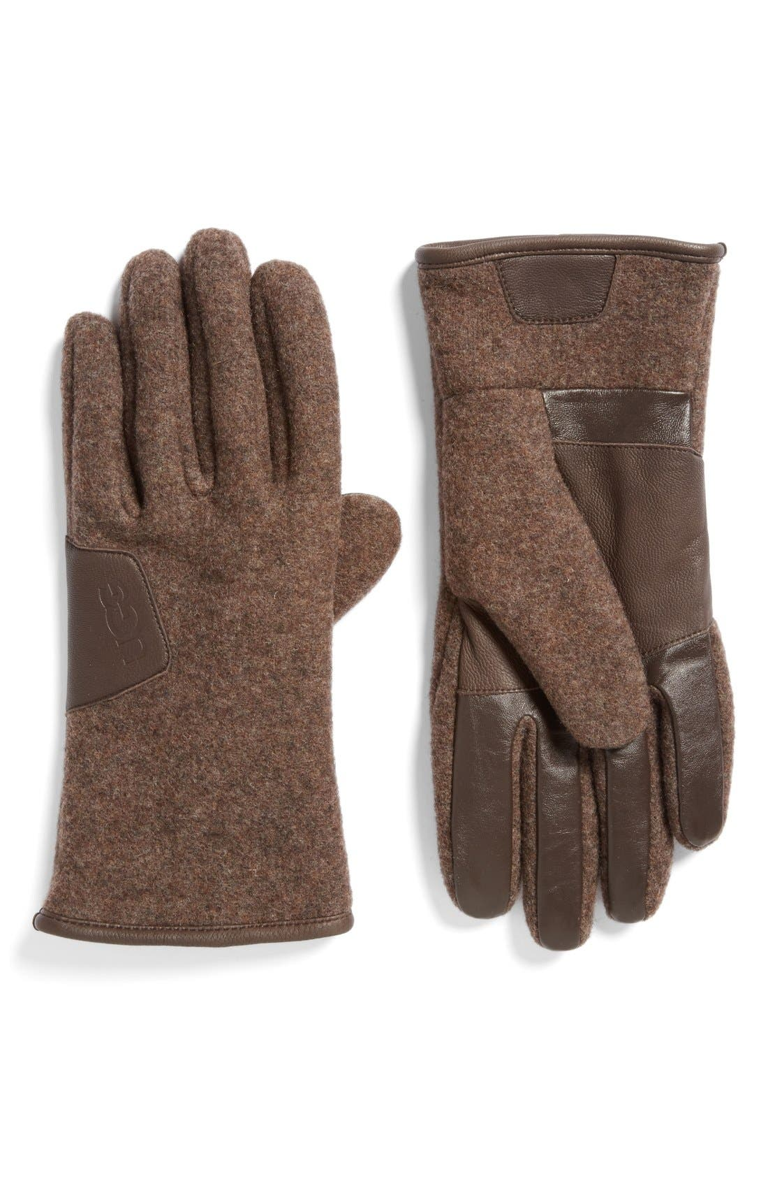 Wool Blend Tech Gloves,                             Main thumbnail 4, color,
