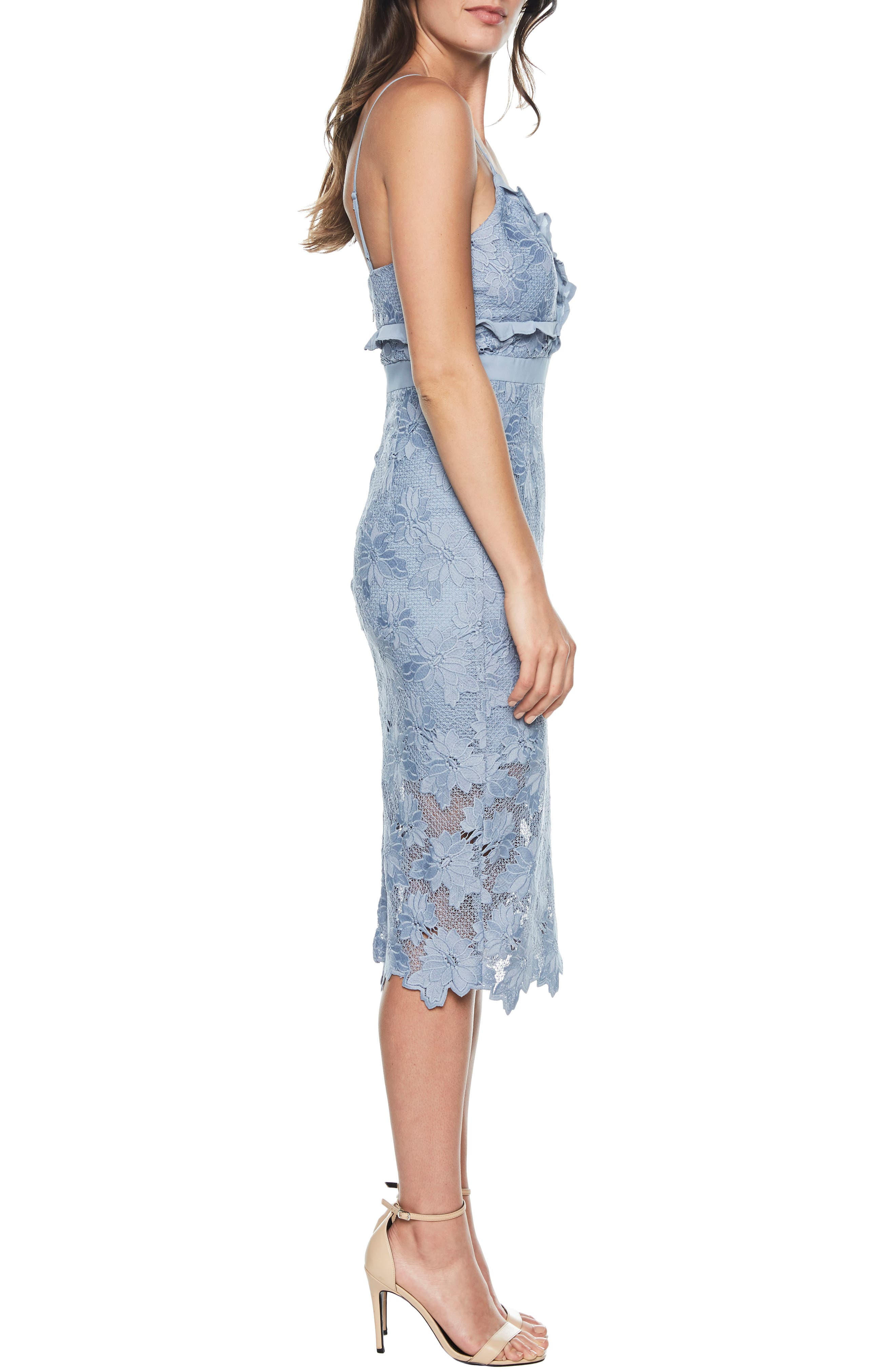 Vienna Lace Overlay Dress,                             Alternate thumbnail 3, color,                             DUSTY BLUE