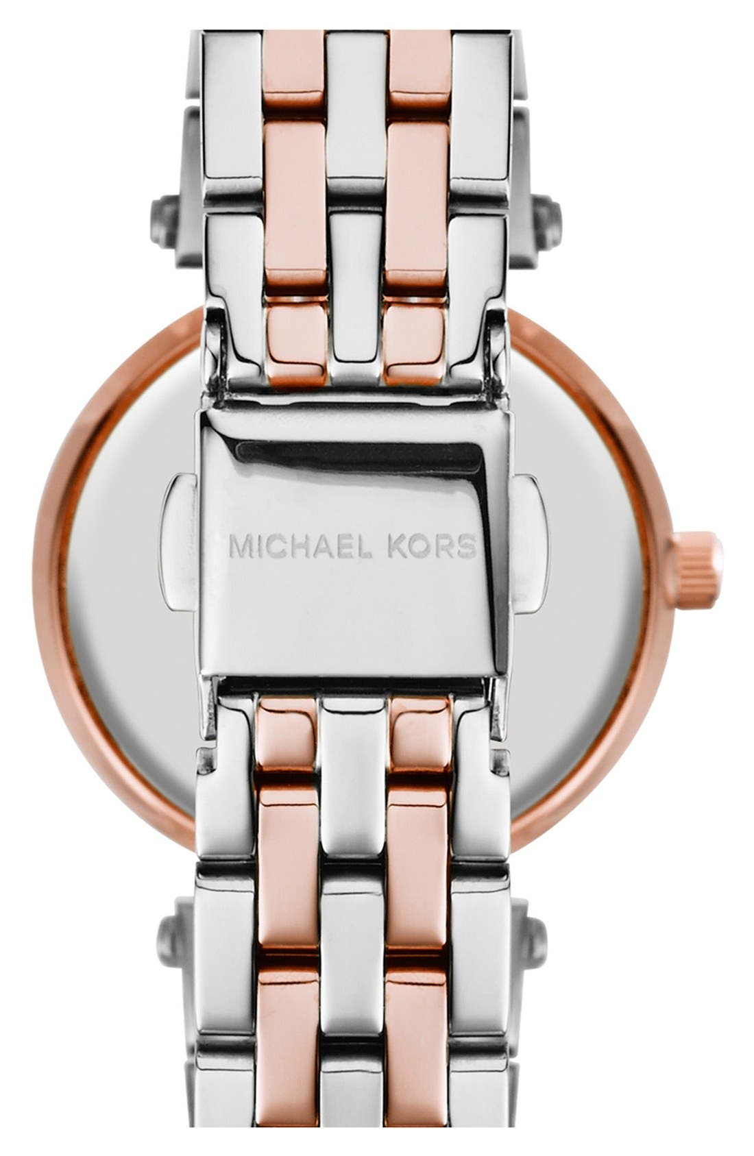 'Petite Darci' Crystal Bezel Bracelet Watch, 26mm,                             Alternate thumbnail 4, color,                             SILVER/ ROSE GOLD