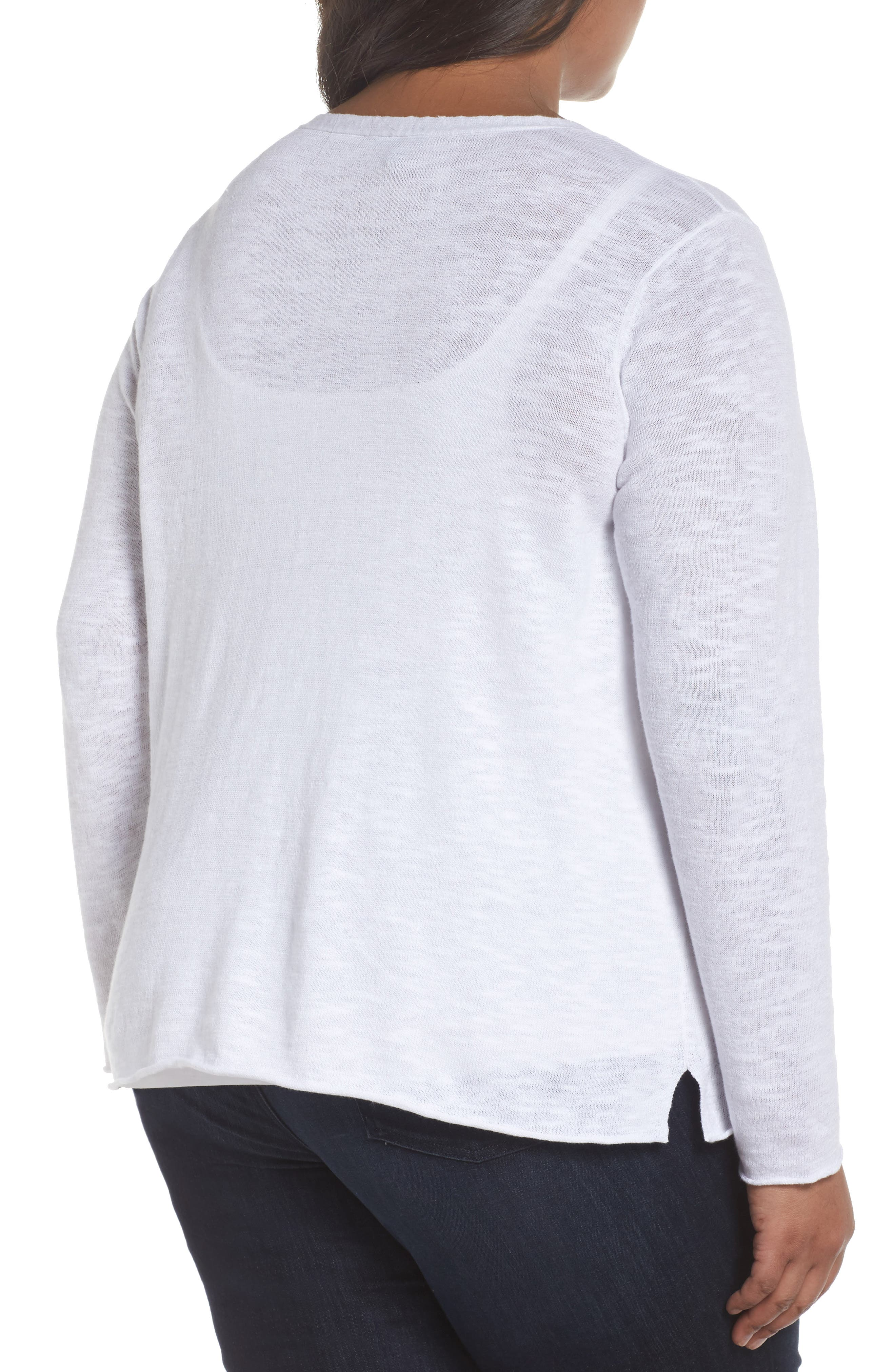 Boxy Organic Linen & Cotton Sweater,                             Alternate thumbnail 2, color,                             100