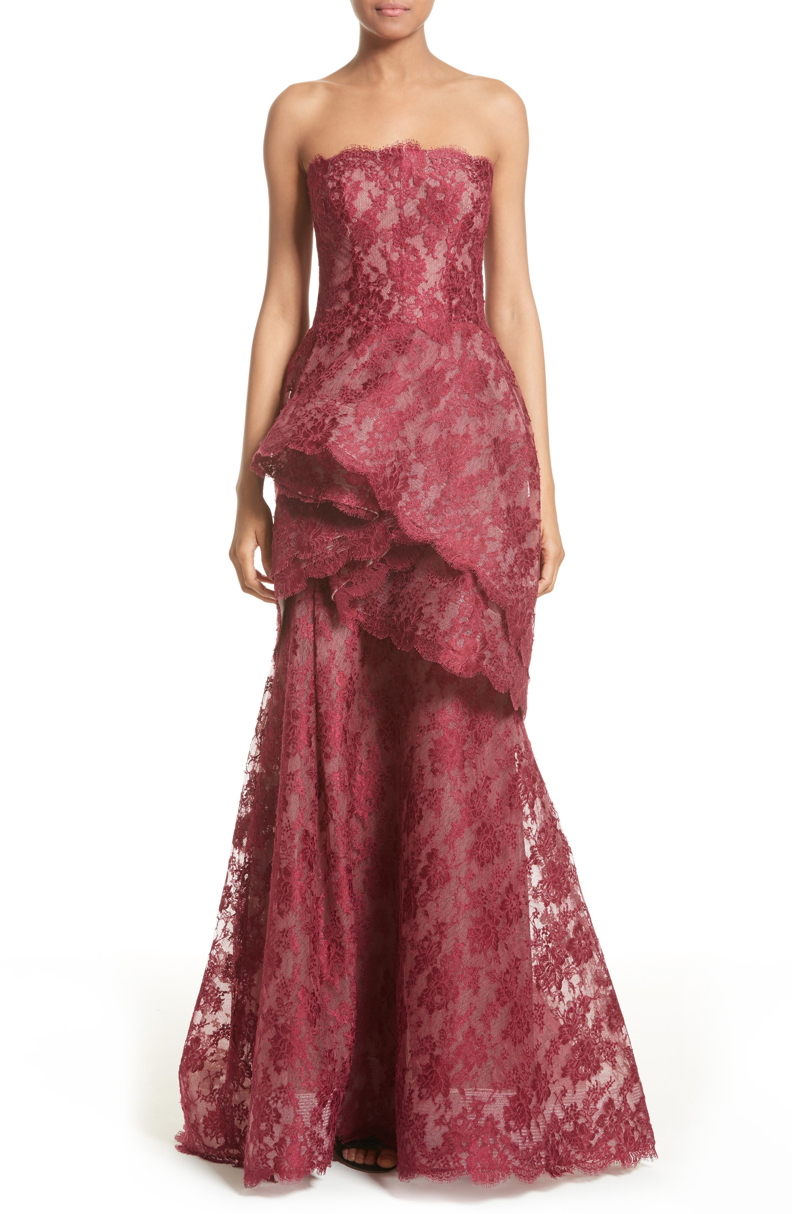 Tiered Strapless Lace Gown,                             Main thumbnail 1, color,                             600