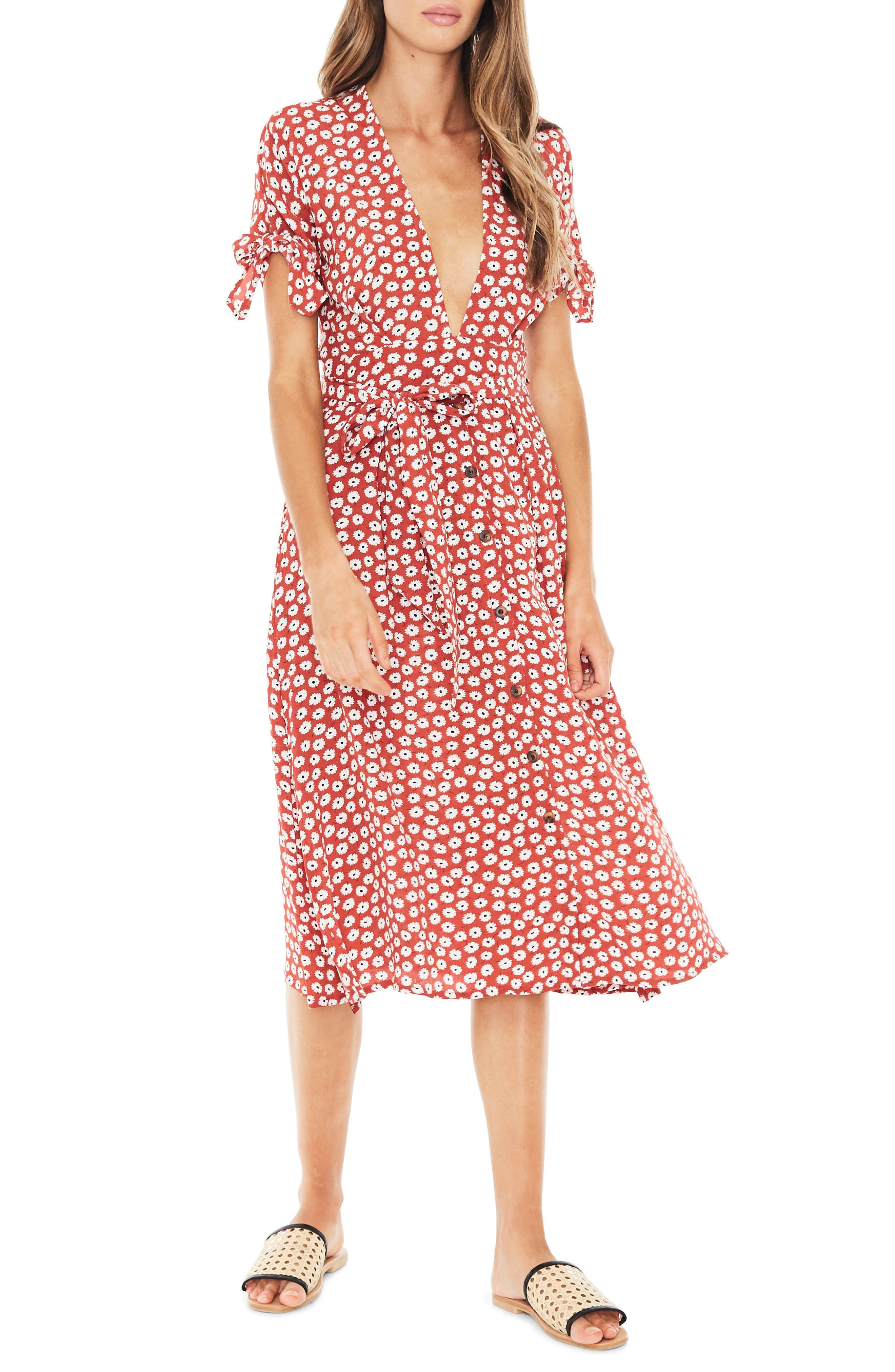 Nina Tie Cuff Midi Dress,                             Main thumbnail 1, color,                             601