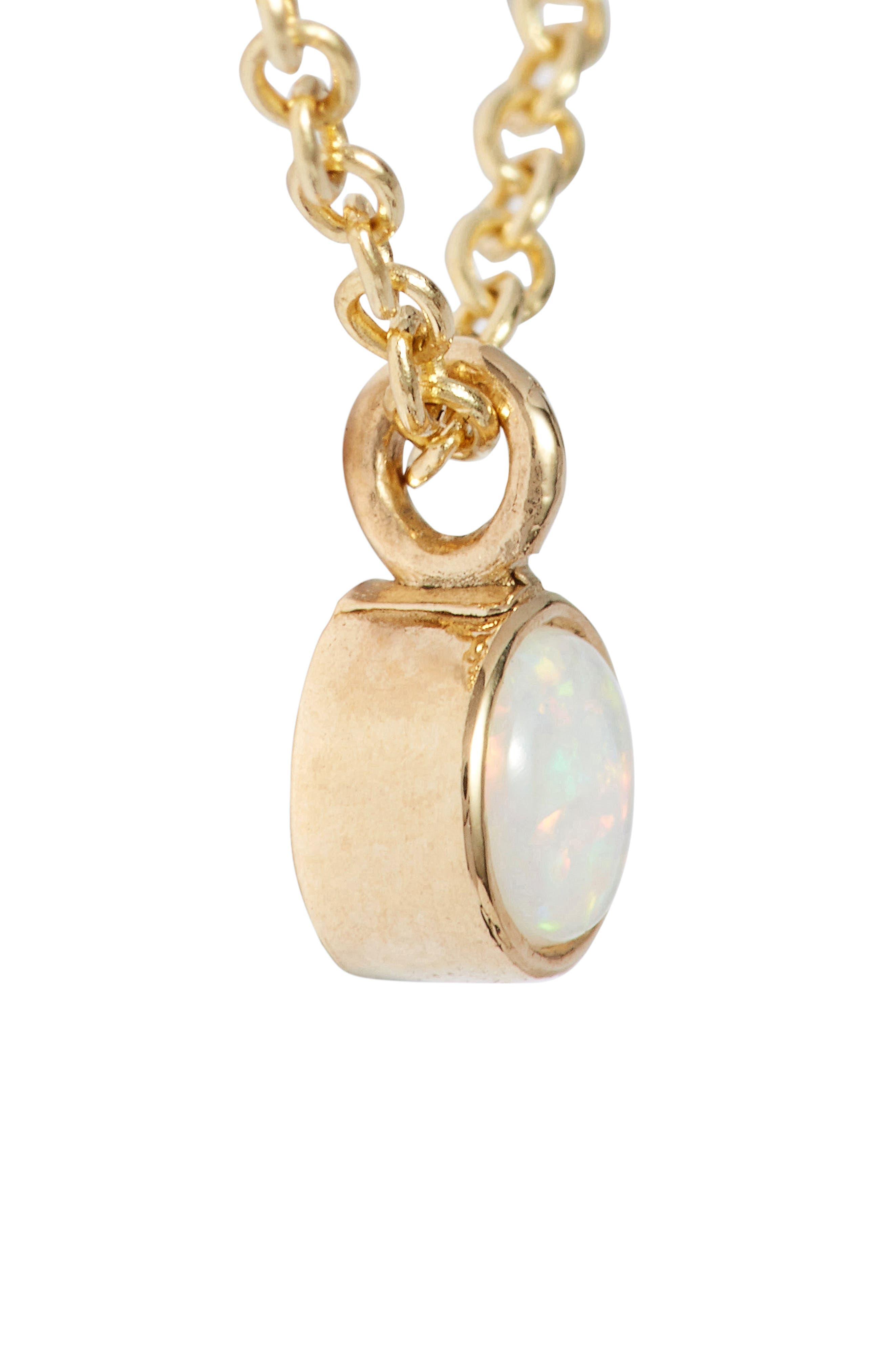 Dangling Semiprecious Stone Choker,                             Alternate thumbnail 4, color,                             YELLOW GOLD/ OPAL
