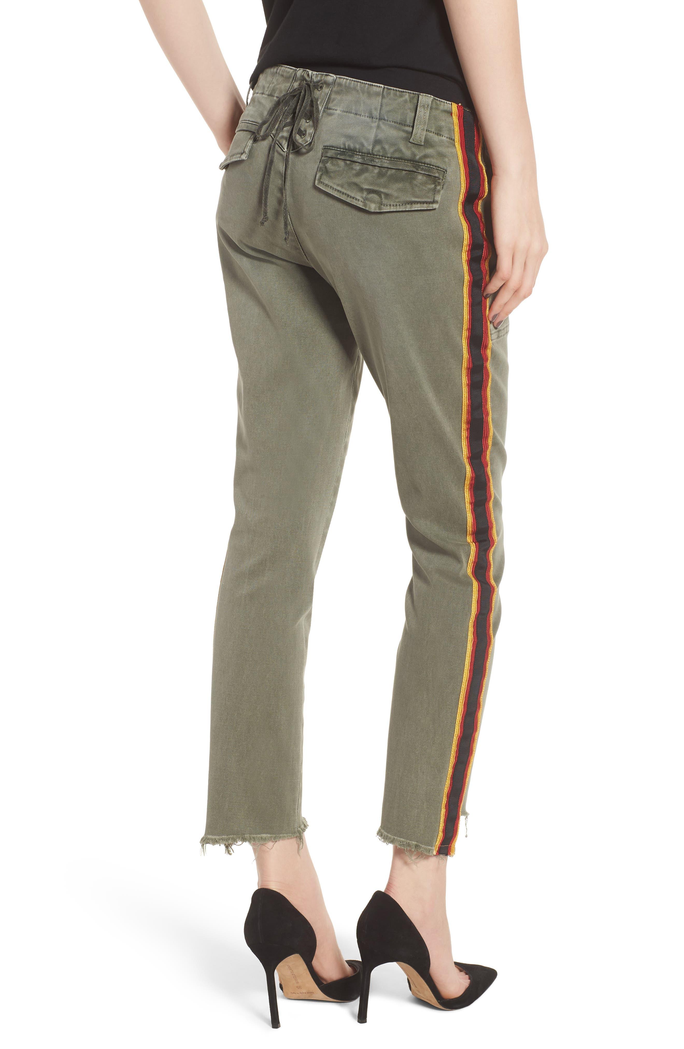 Uniform Stripe Step Hem Pants,                             Alternate thumbnail 2, color,                             MILITIA