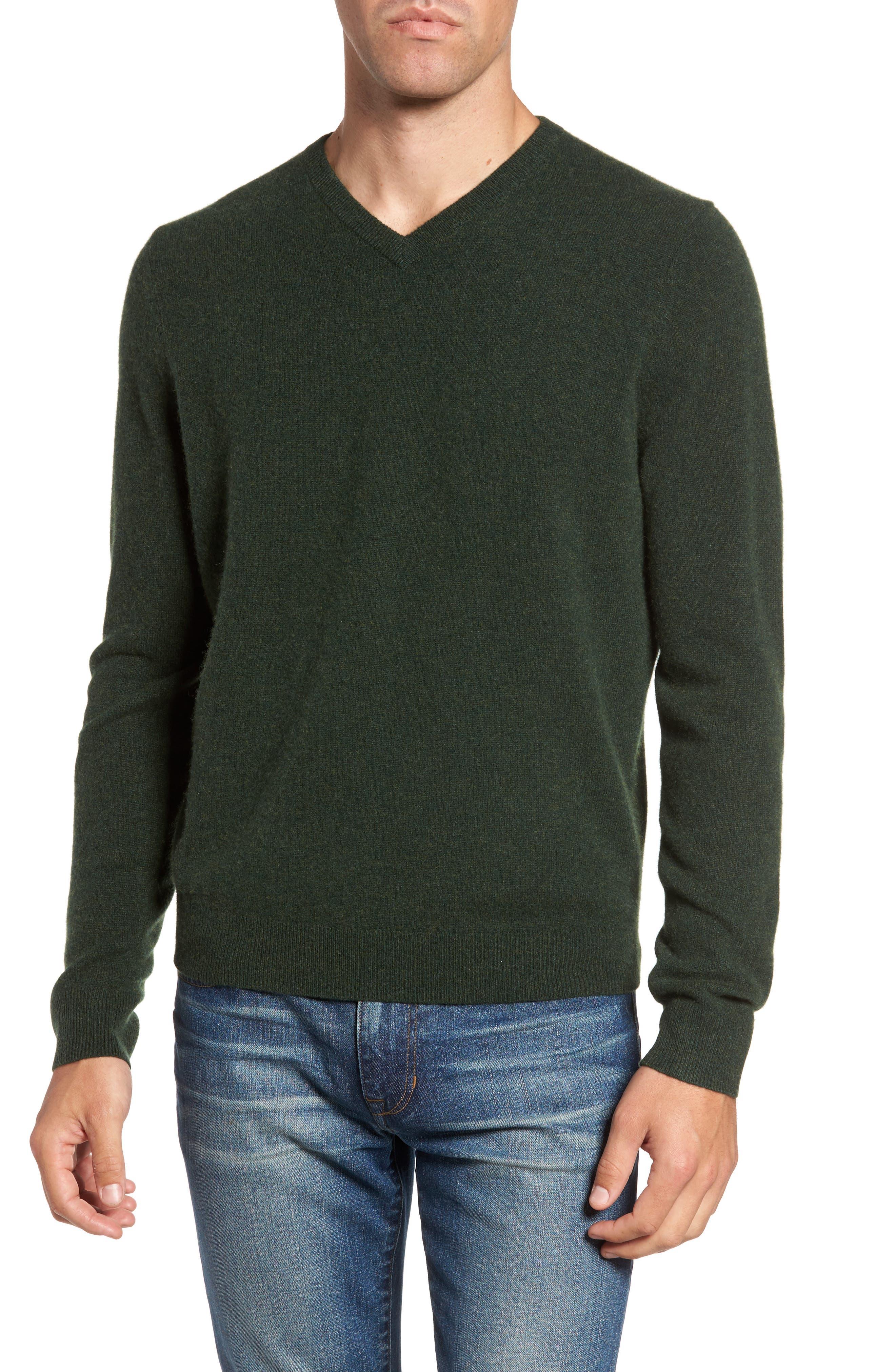Nordstrom Shop Cashmere V-Neck Sweater, Green