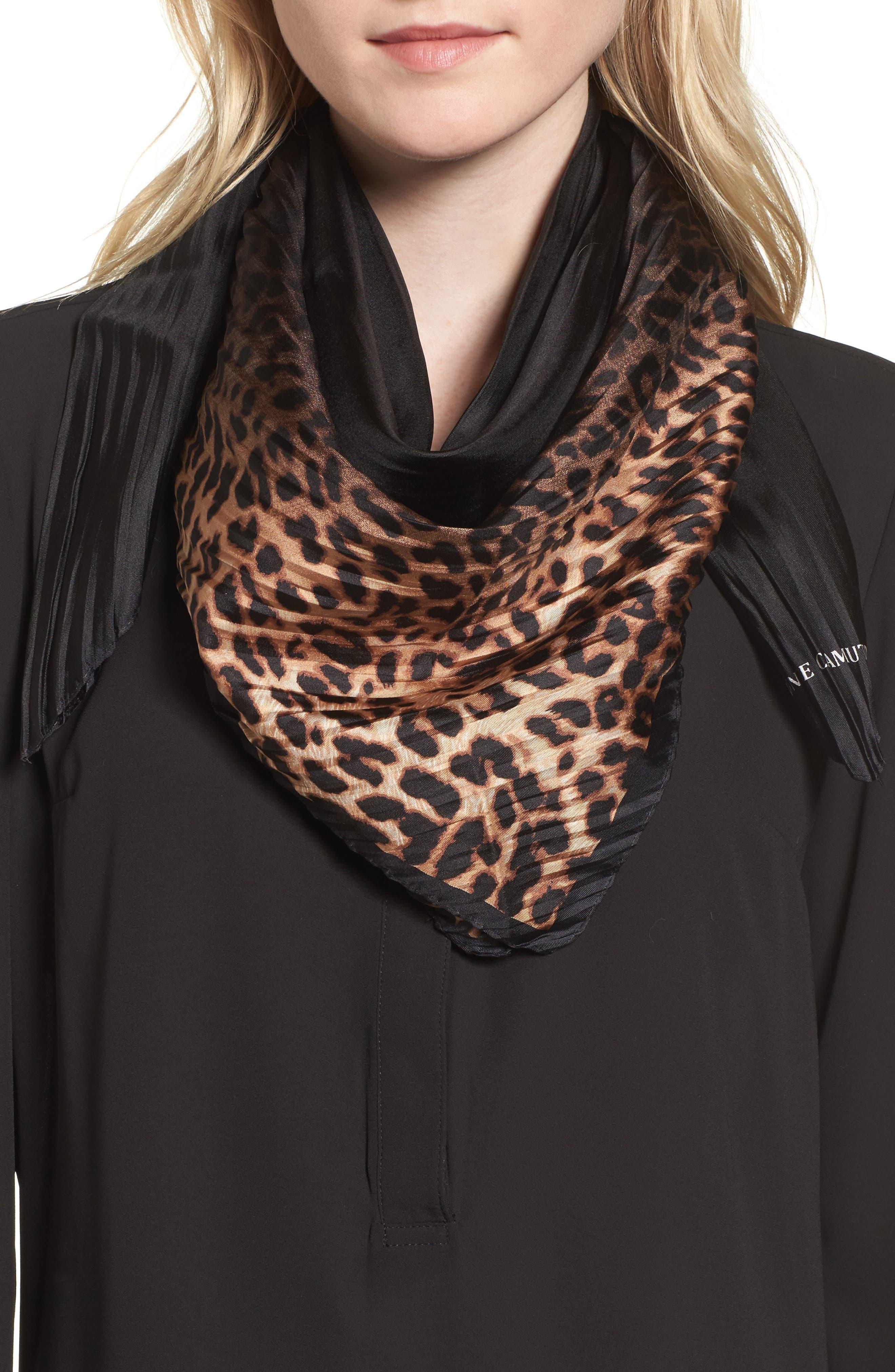 Ombré Leopard Silk Scarf,                             Main thumbnail 1, color,