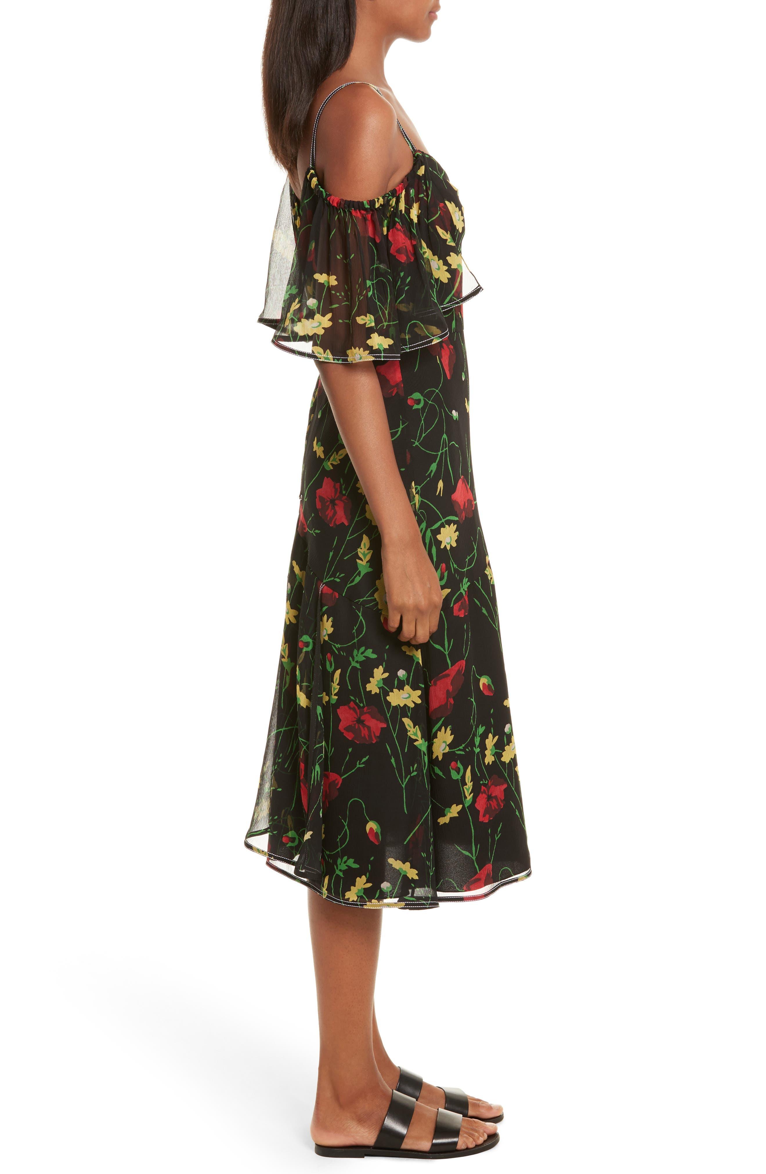 Print Chiffon Off the Shoulder Dress,                             Alternate thumbnail 3, color,                             001