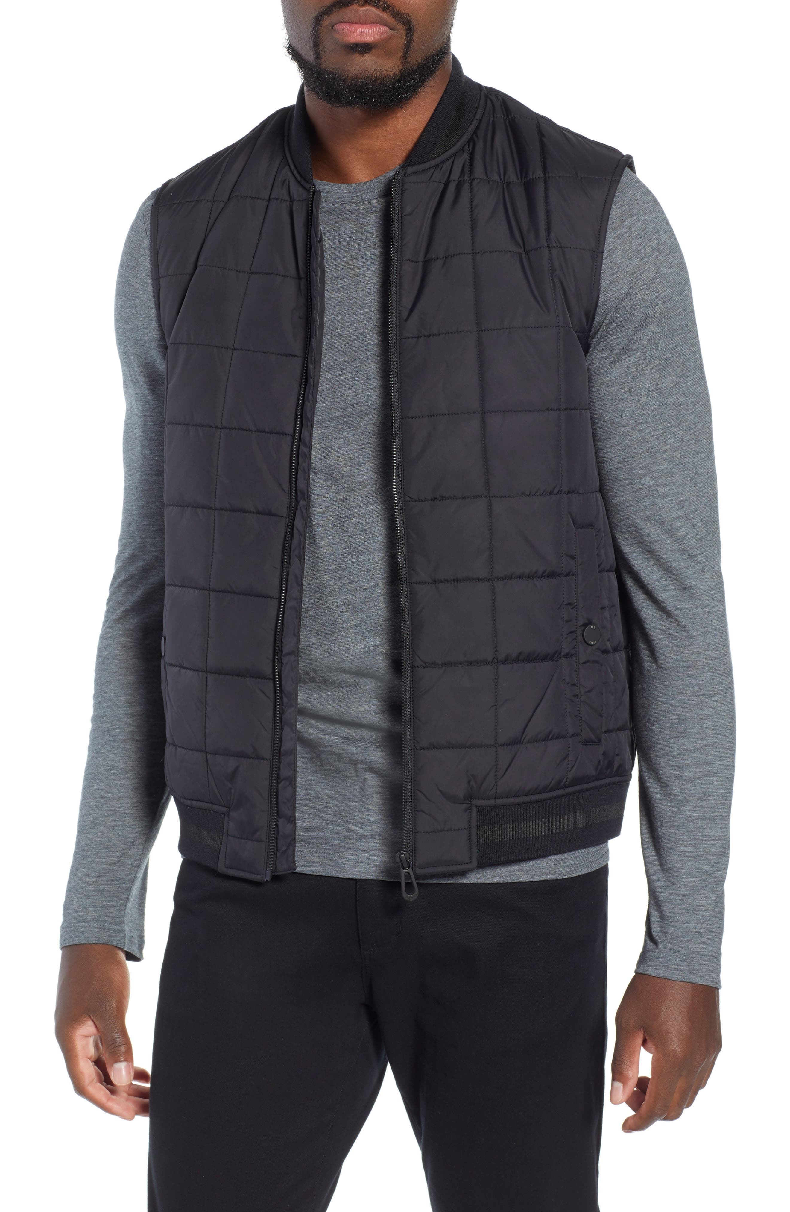 Oakcake Slim Quilted Gilet,                             Main thumbnail 1, color,                             BLACK