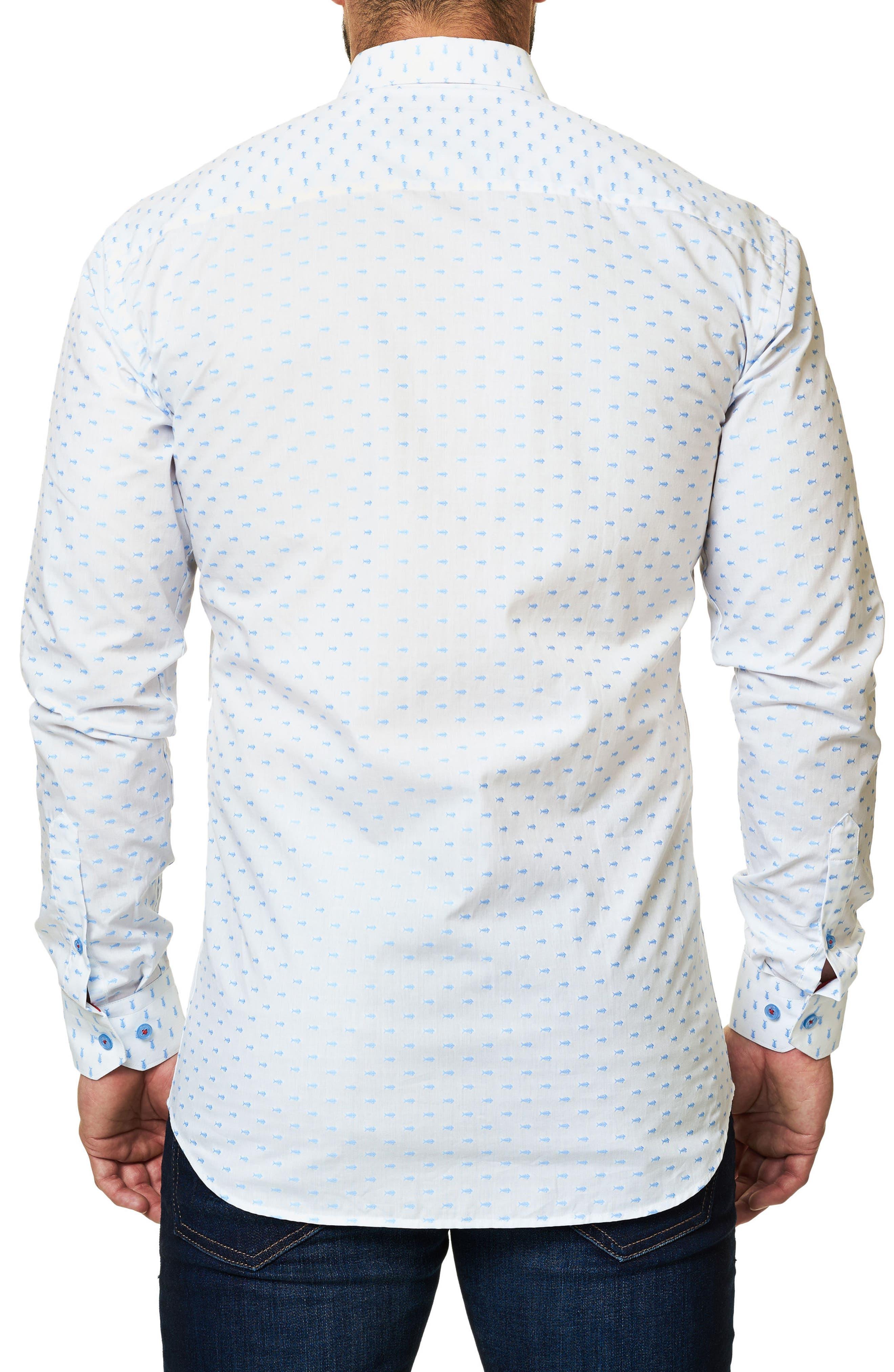 Trim Fit Fish Print Sport Shirt,                             Alternate thumbnail 2, color,                             114