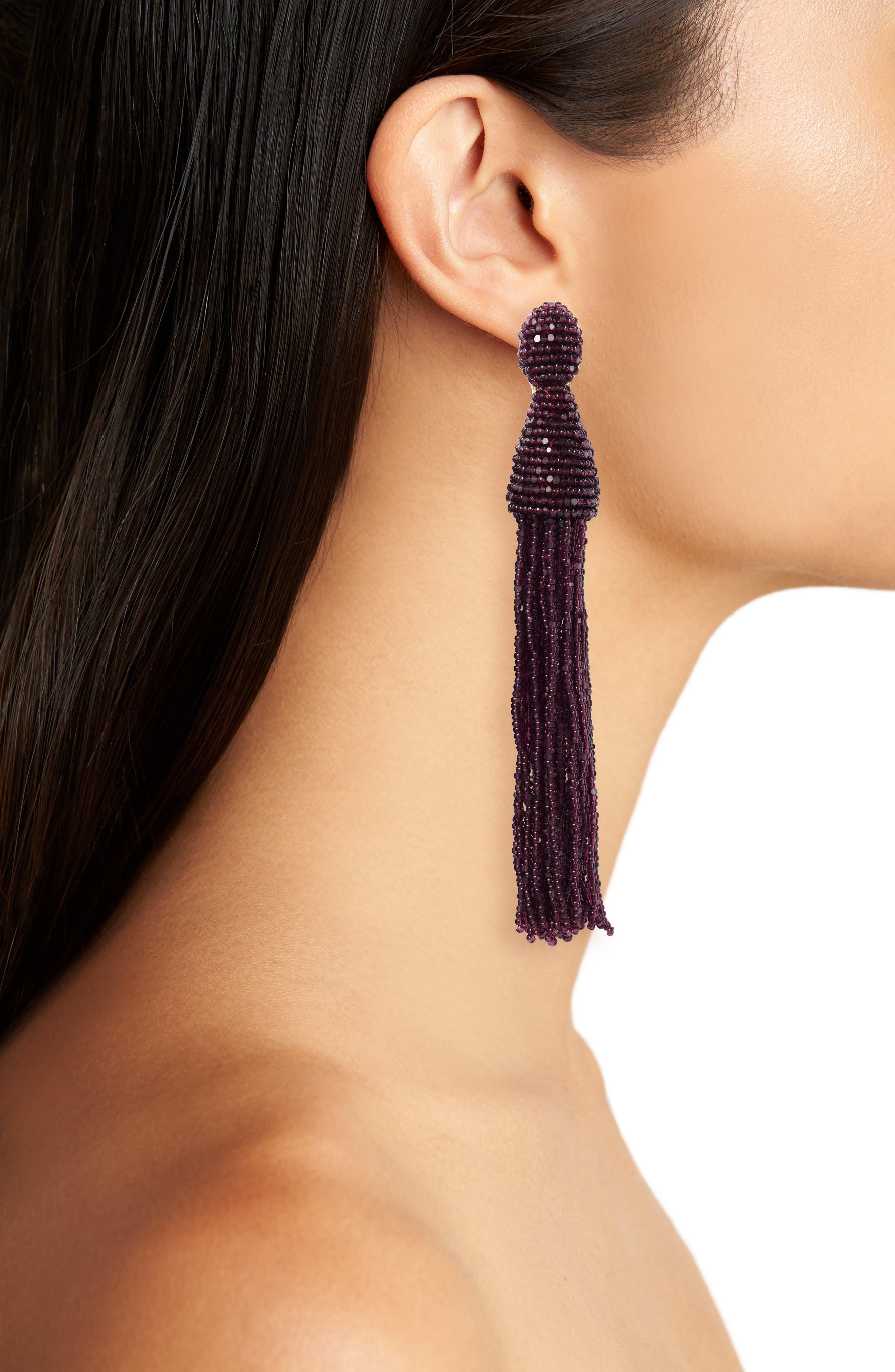 Long Beaded Tassel Drop Earrings,                             Alternate thumbnail 2, color,                             505