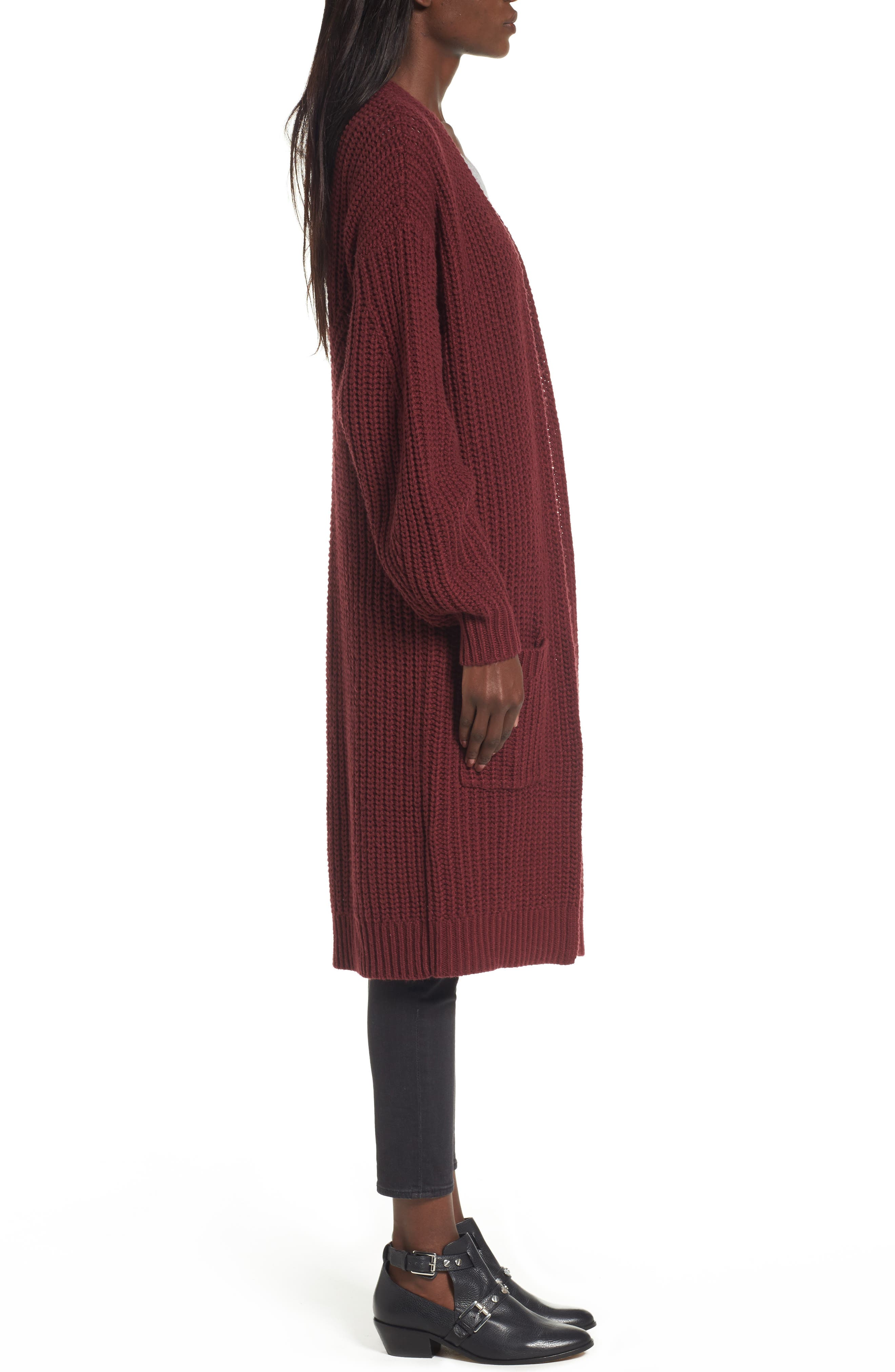 Shaped Sleeve Longline Cardigan,                             Alternate thumbnail 6, color,