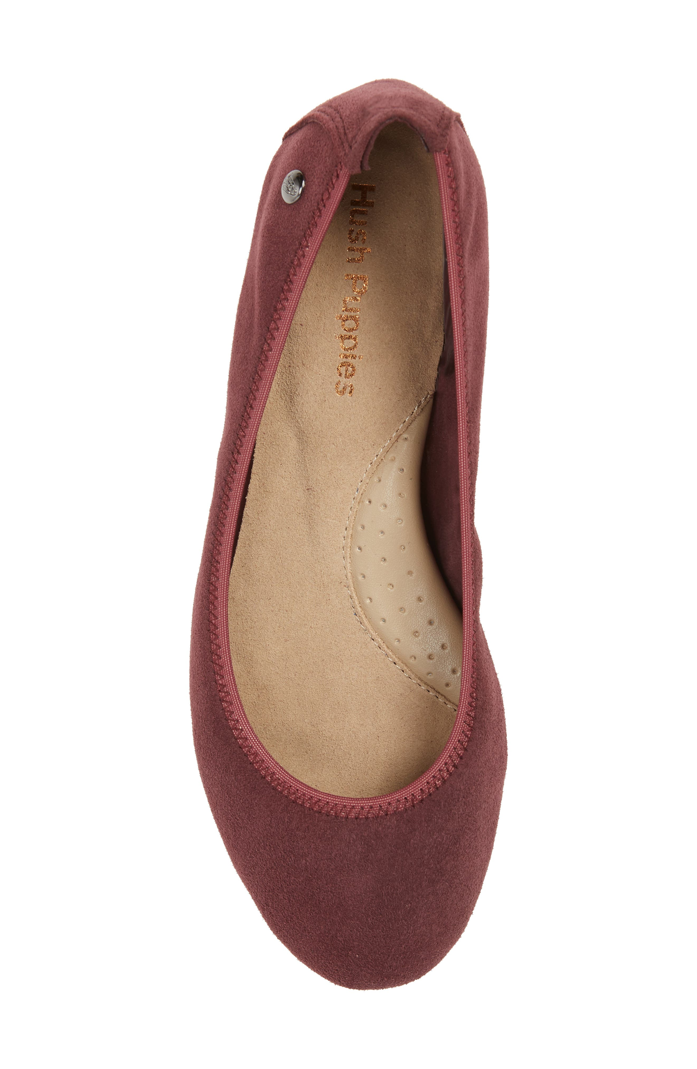 'Chaste' Ballet Flat,                             Alternate thumbnail 5, color,                             DARK WINE SUEDE