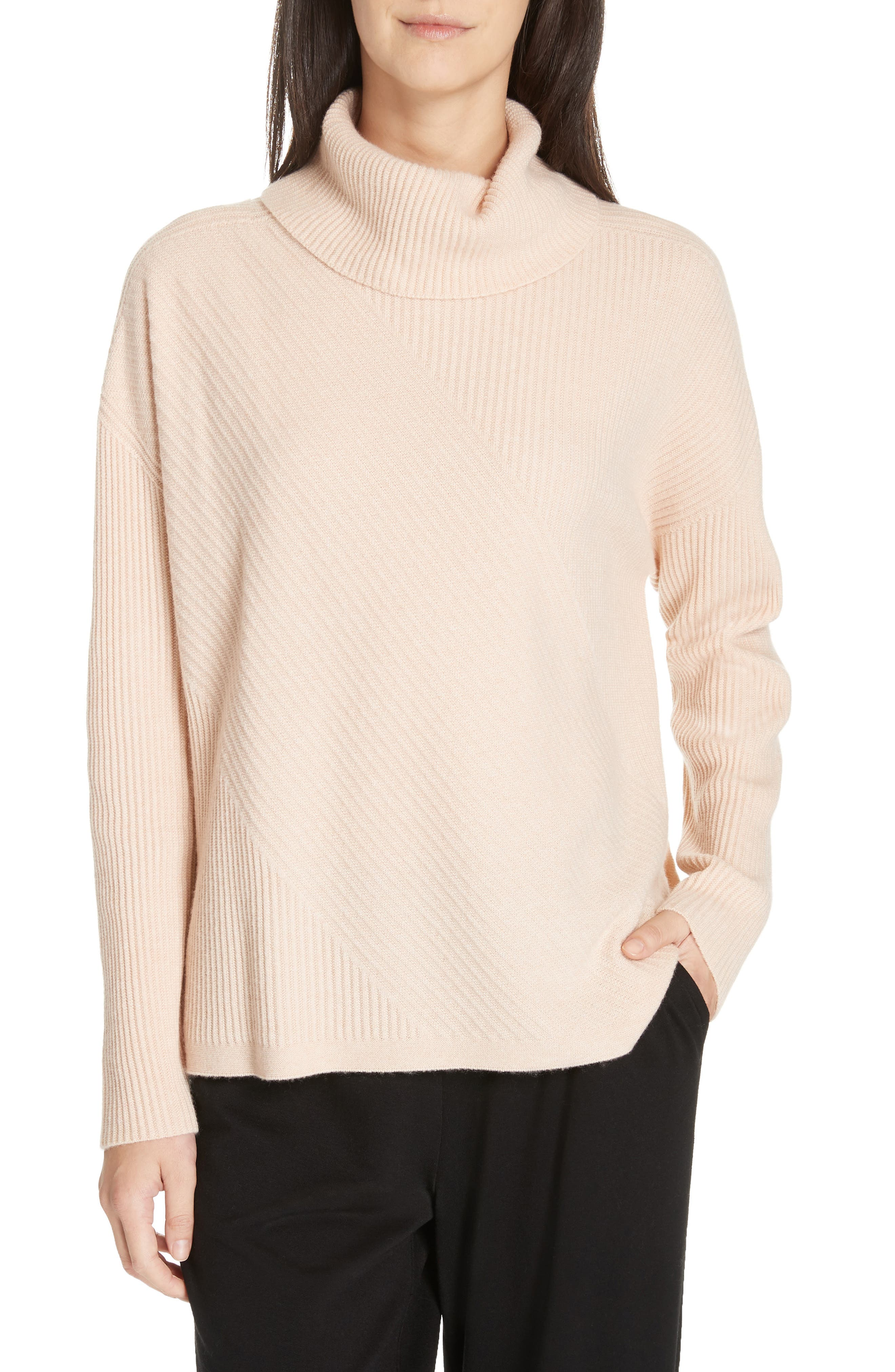 women's eileen fisher cashmere turtleneck top, size large - pink
