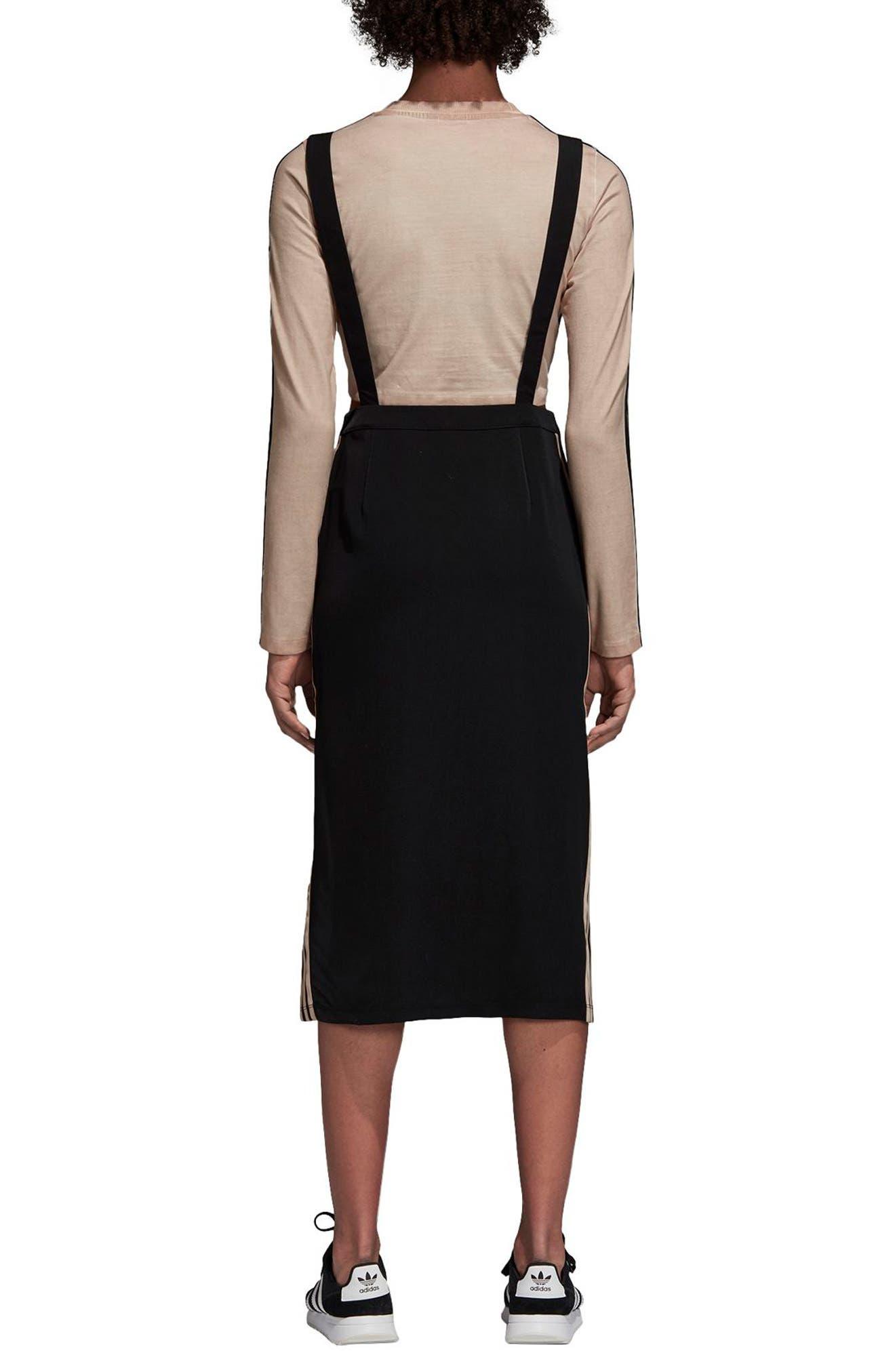 ADIDAS ORIGINALS,                             Midi Skirt with Shoulder Straps,                             Alternate thumbnail 2, color,                             001