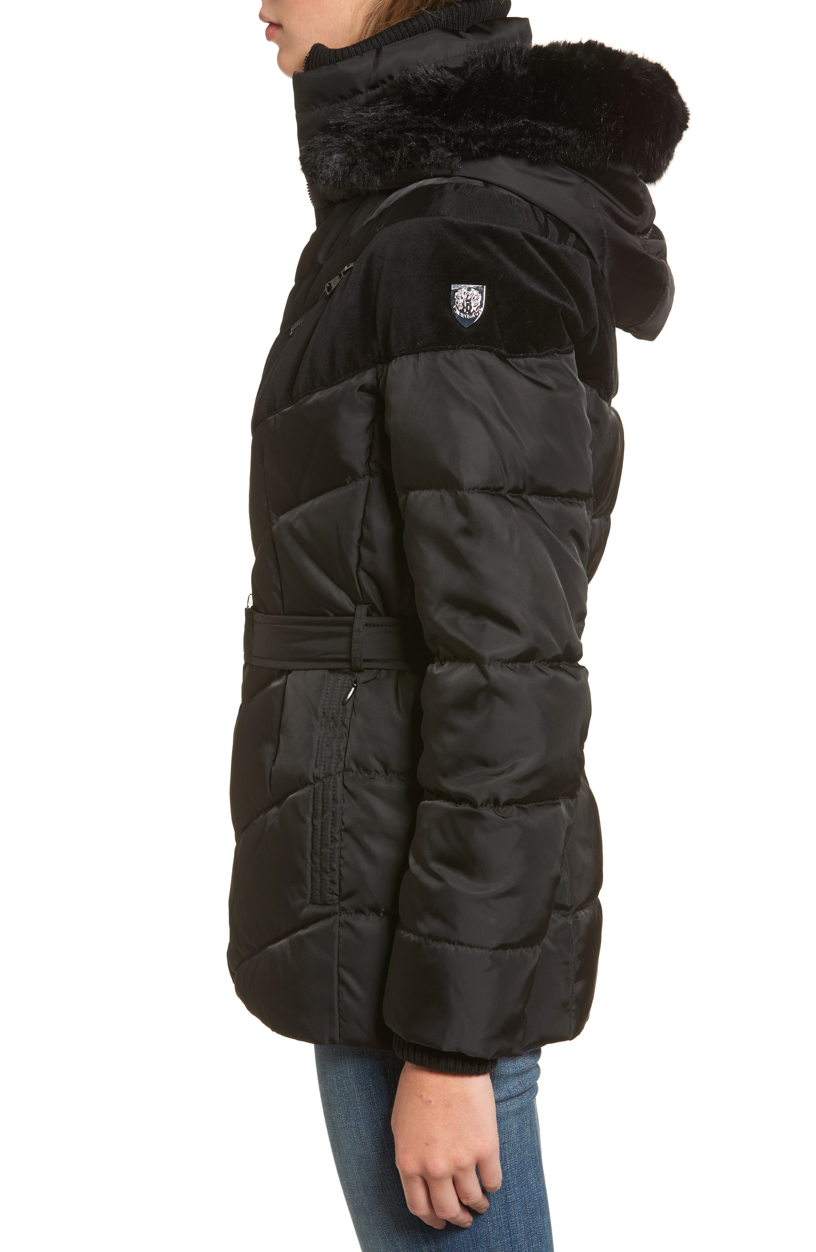 Belted Down & Feather Fill Coat with Faux Fur Trim Hood,                             Alternate thumbnail 9, color,