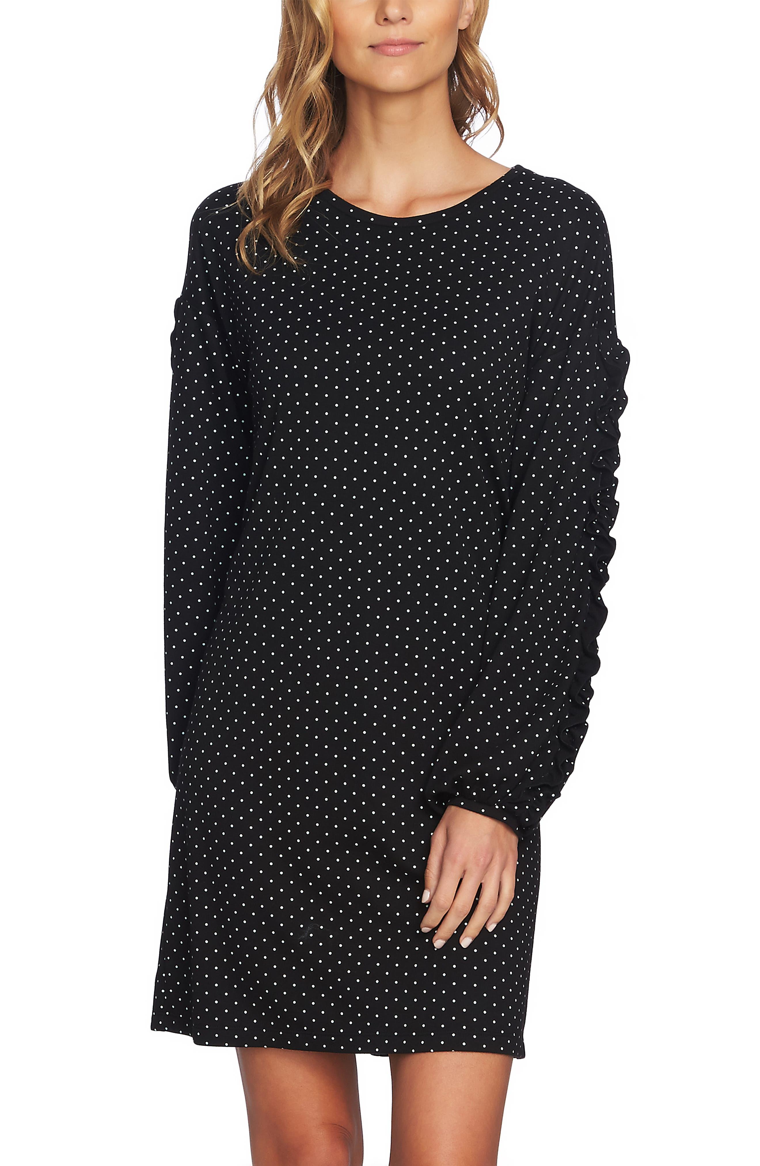 Pin Dot Ruffle Sleeve Dress,                             Alternate thumbnail 6, color,                             RICH BLACK